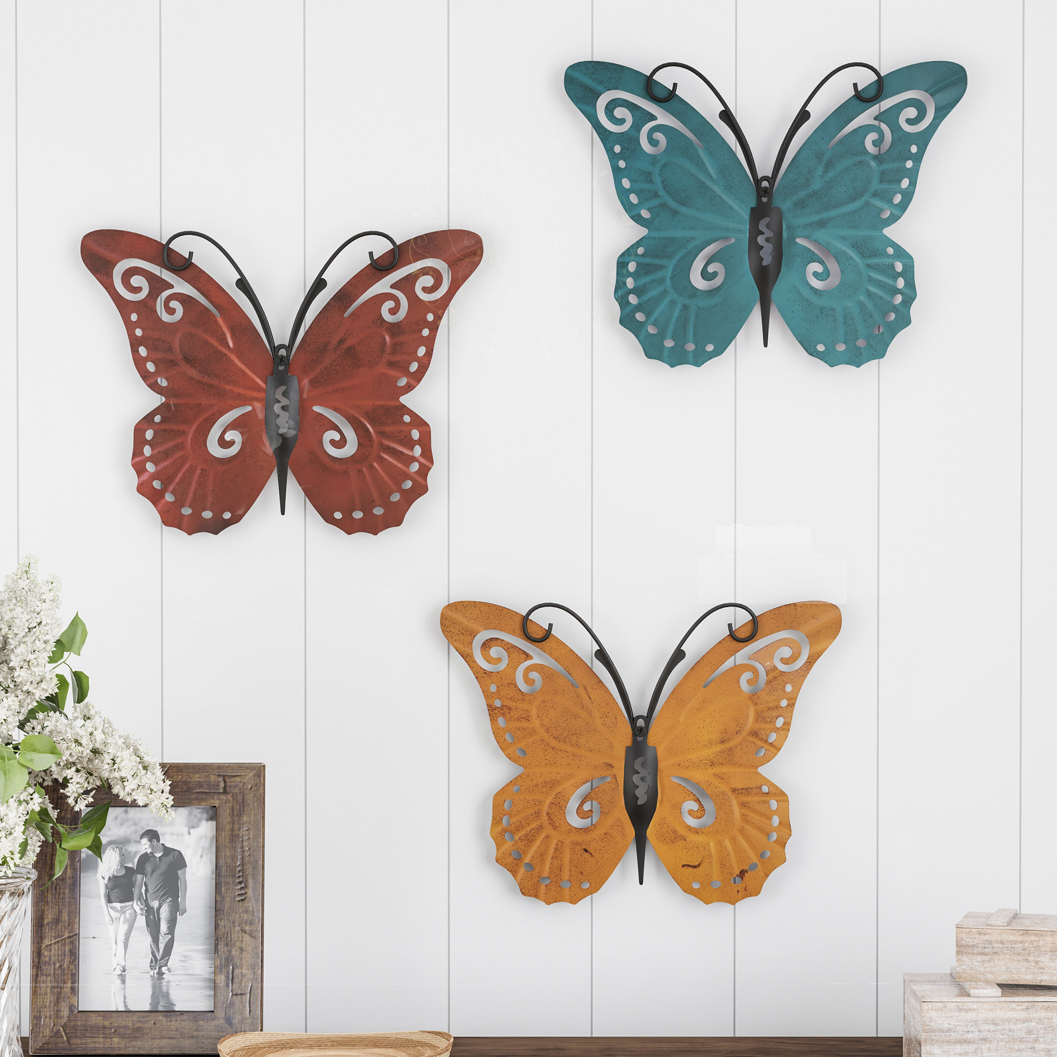 Well Known Ila Metal Butterfly Wall Decor With August Grove 3 Piece Butterfly Metal Wall Decor Set & Reviews (View 3 of 20)