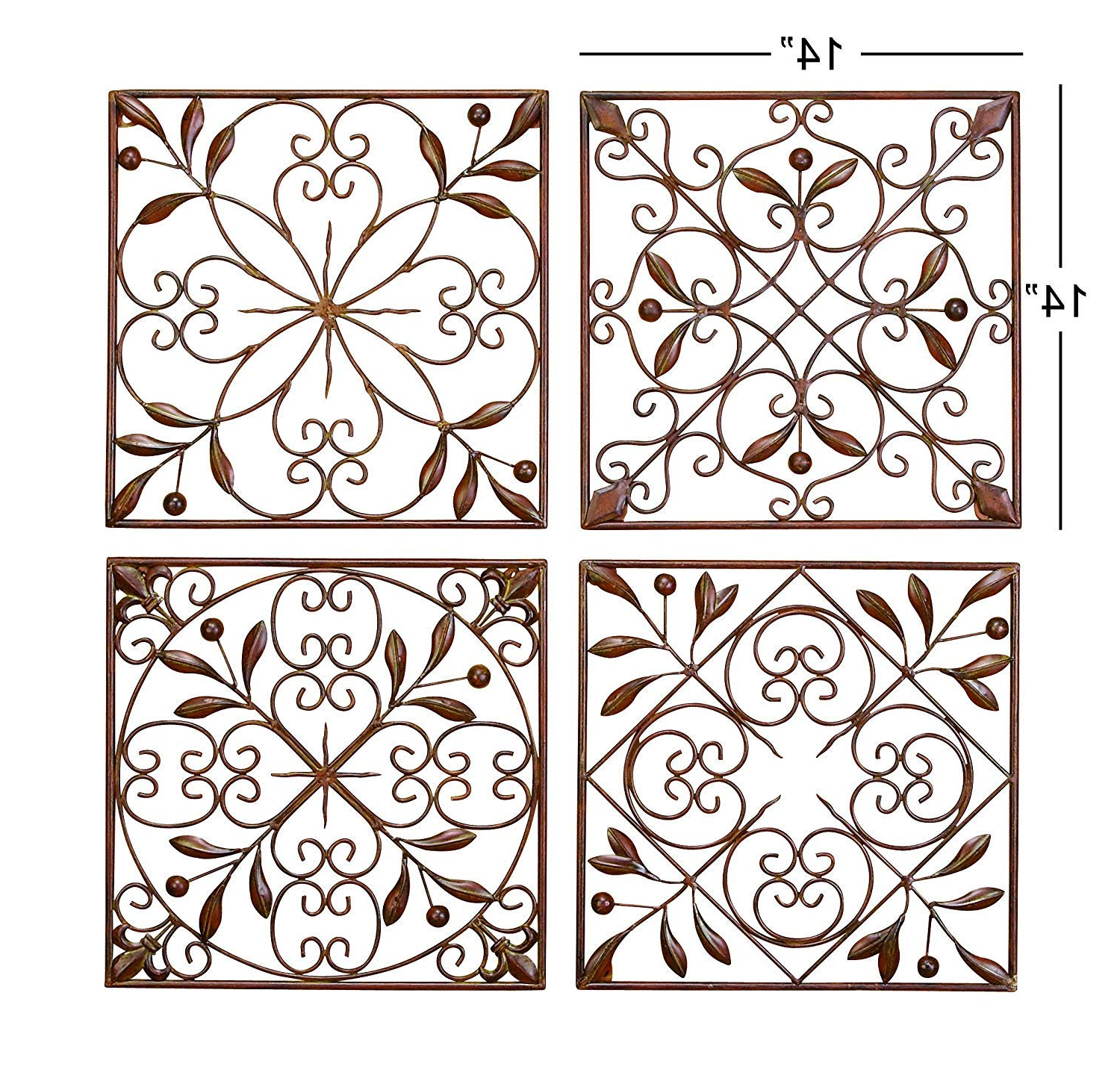 Well Known Metal Wall Decor (Set Of 4) In Amazon: Deco 79 50035 Metal Wall Decor Set Of 4: Home & Kitchen (View 19 of 20)