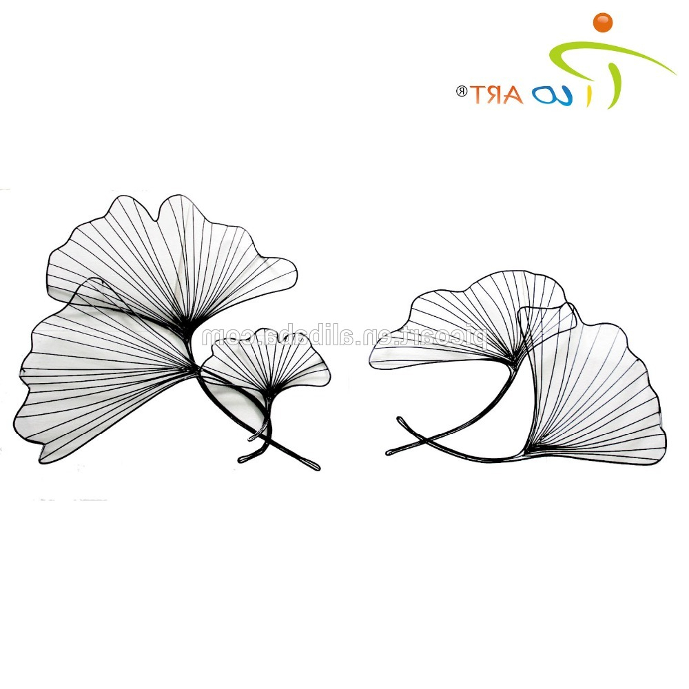 Well Known Tree Shell Leaves Sculpture Wall Decor With Regard To 3d Hollow Metal Wall Art Sculpture Concise Iron Wire Lotus Leaf Wall (View 19 of 20)