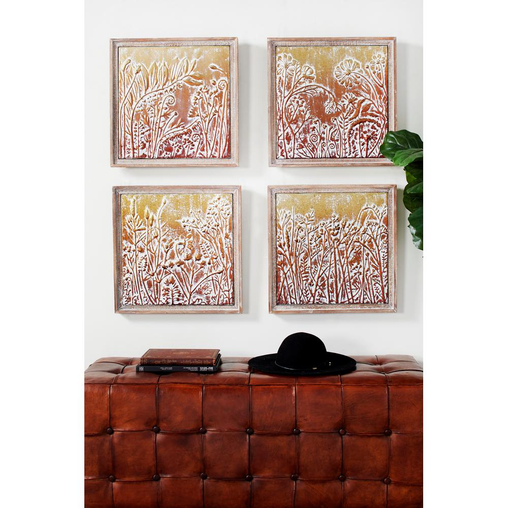 Well Liked Metal Wall Decor (Set Of 4) Pertaining To Litton Lane Metal Gold And Copper Embossed Botanical And Floral Wall (View 20 of 20)