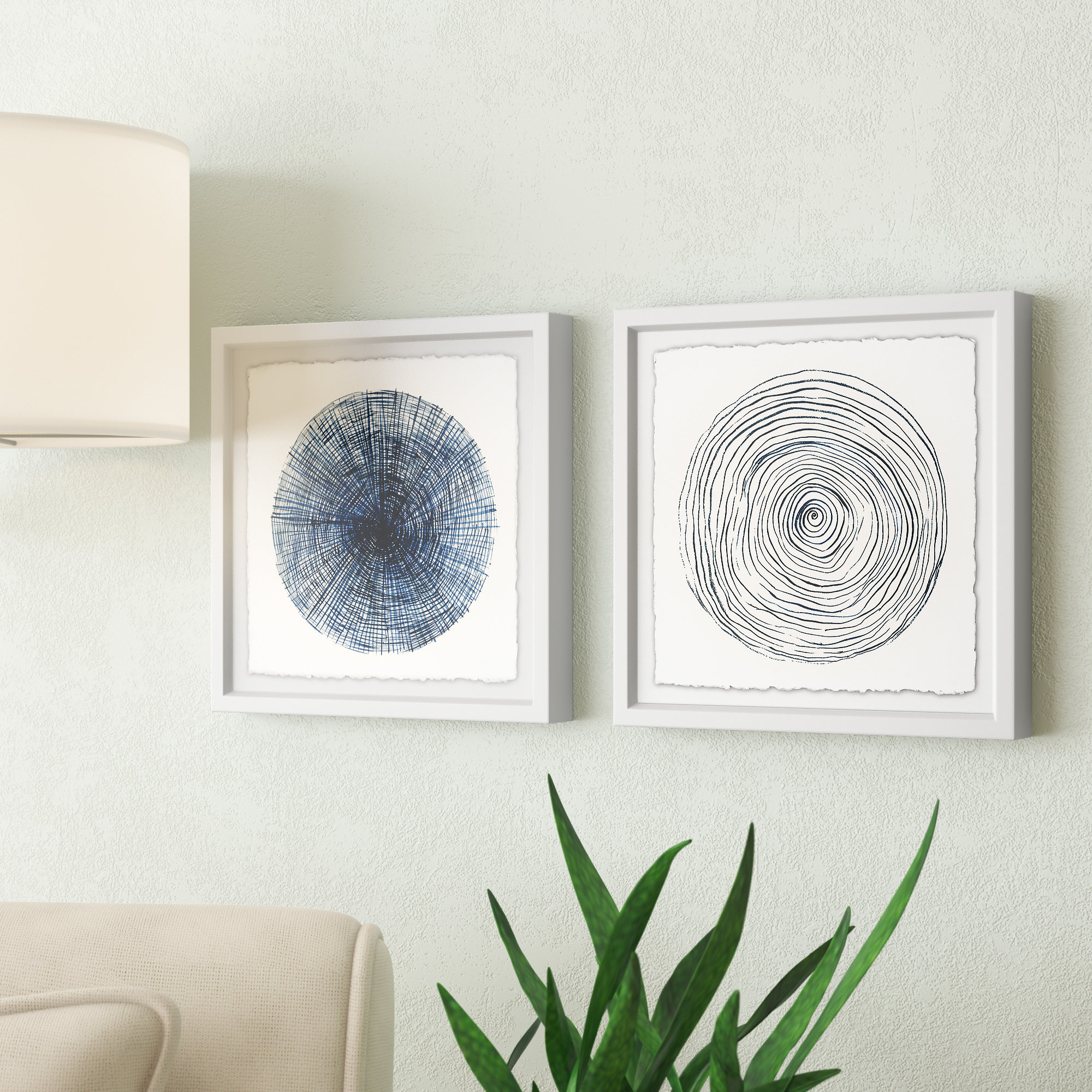 Well Liked Wrought Studio 'circle Lines Diptych' 2 Piece Framed Drawing Print Inside 3 Piece Wall Decor Sets By Wrought Studio (Gallery 11 of 20)