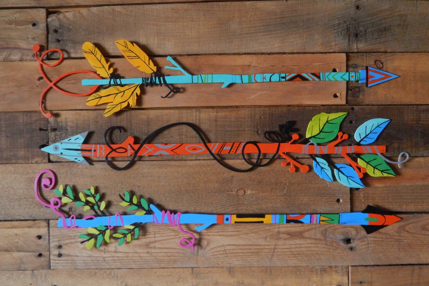 Western Metal Wall Art – Boho Decor – Hand Painted Arrows Feathers With Regard To Well Known Brown Metal Tribal Arrow Wall Decor (View 9 of 20)