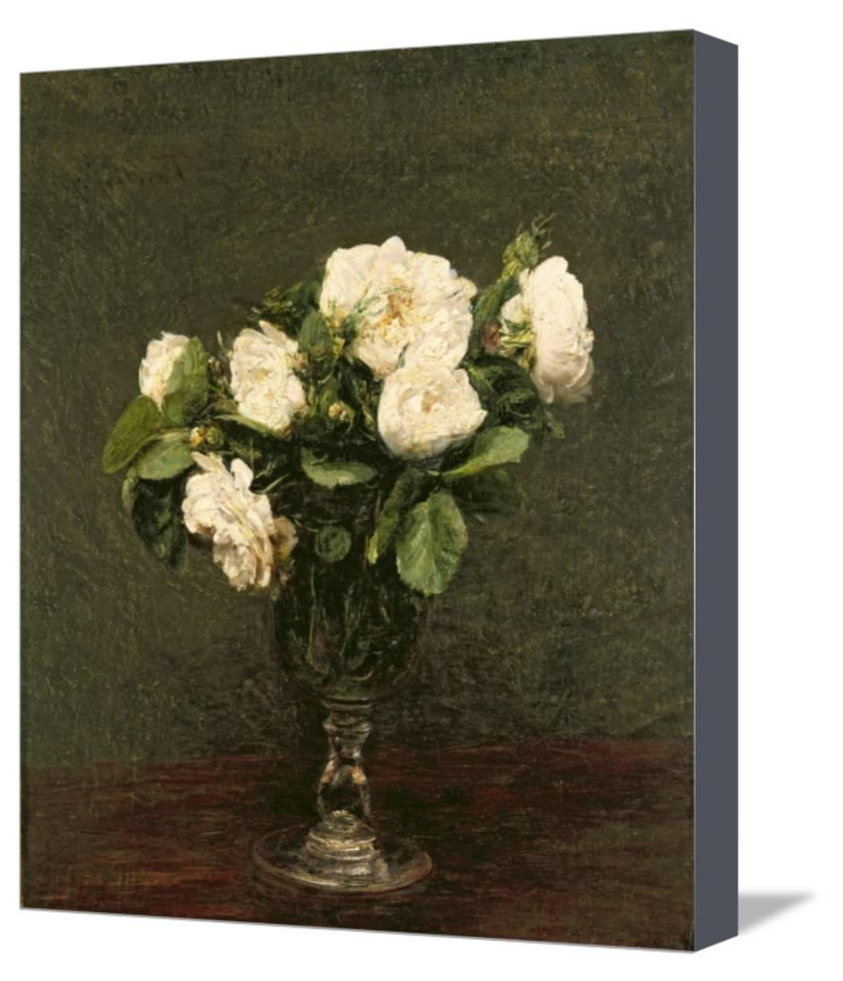 White Roses, 1875 Stretched Canvas Print Wall Arthenri Fantin Throughout 2019 Latour Wall Decor (View 20 of 20)