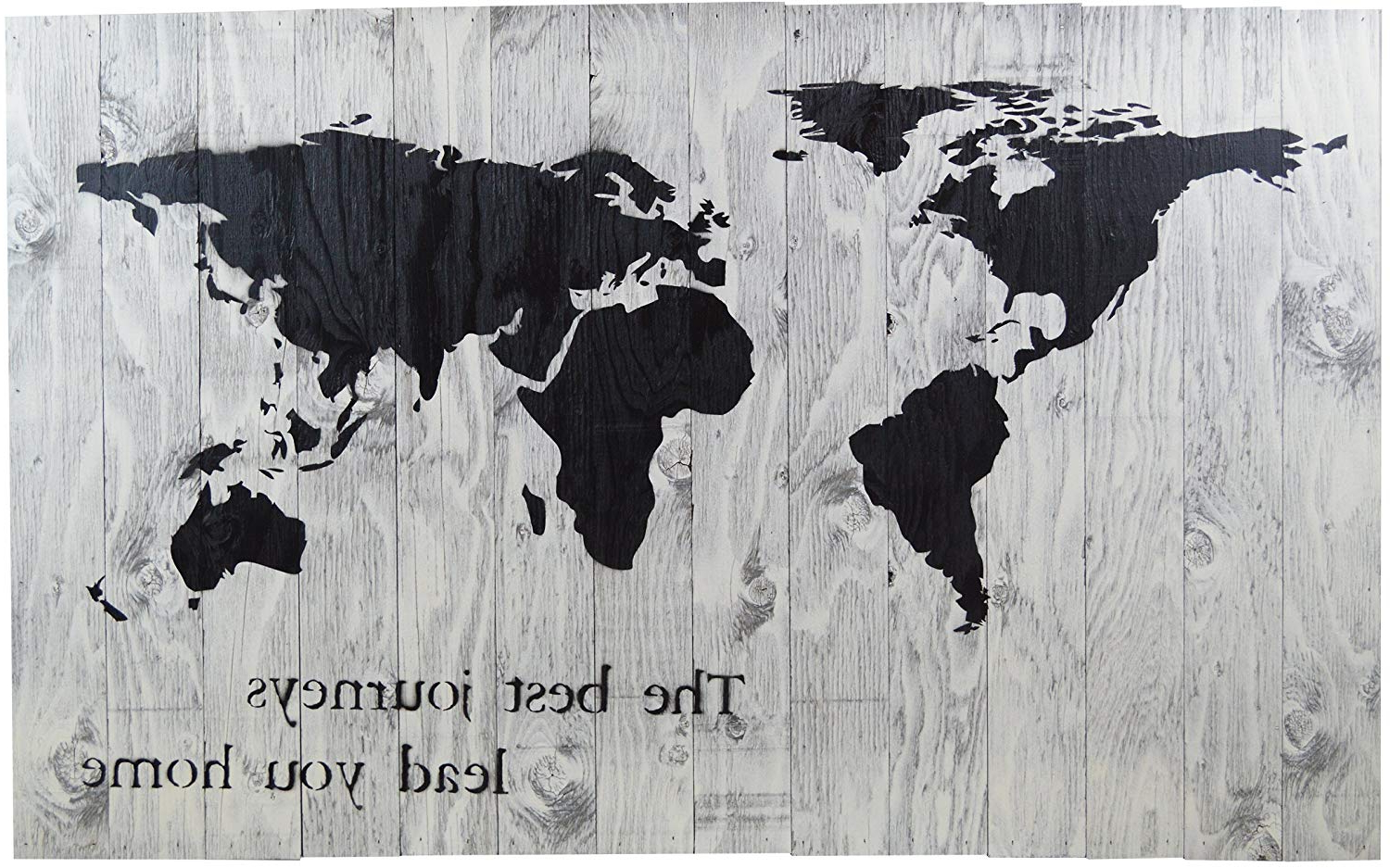 "Widely Used Amazon: White World Map Rustic Barn Wood Pallet Sign – The Best With Regard To In A Word ""welcome"" Wall Decor By Fireside Home (View 20 of 20)"