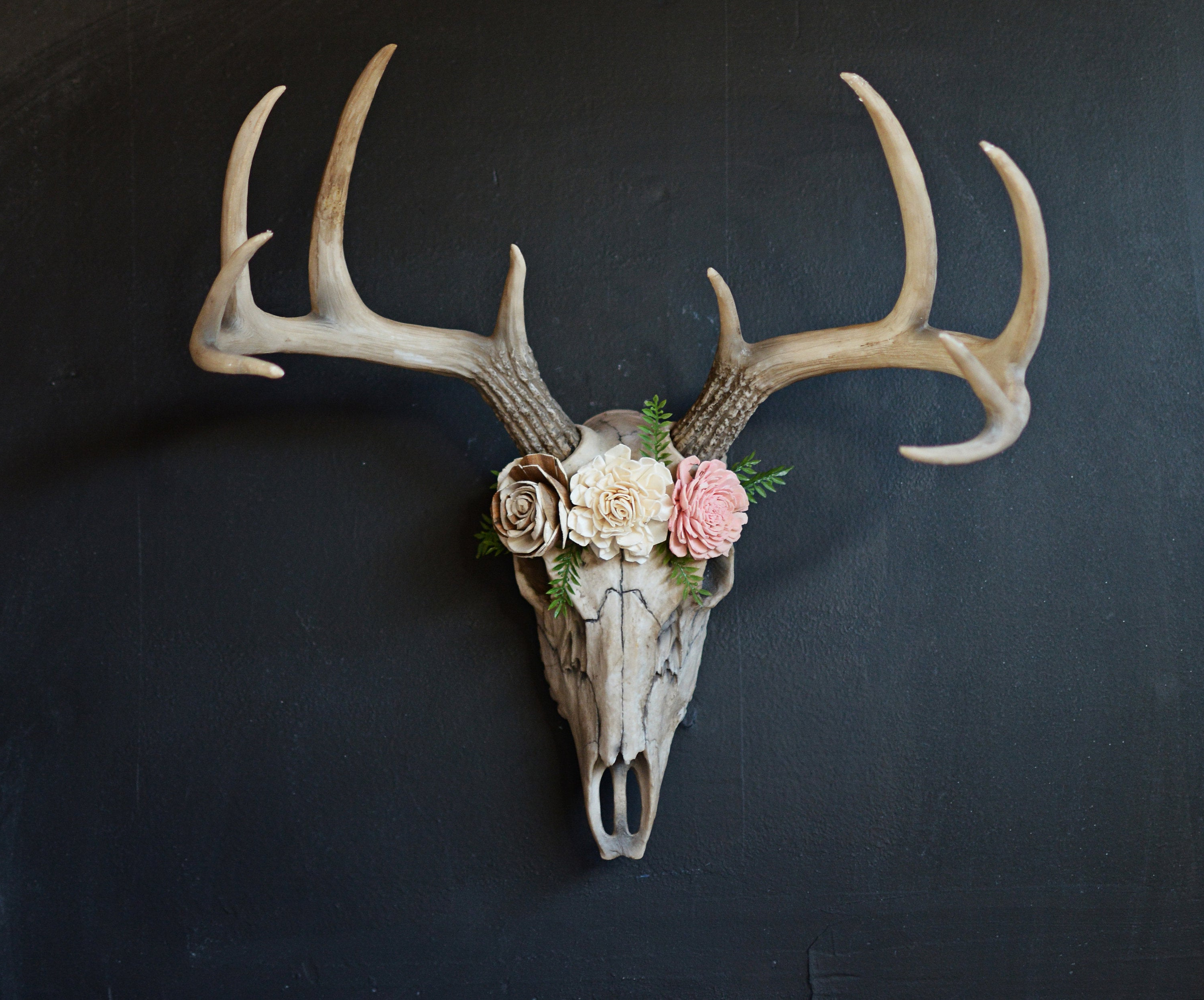 Widely Used Large Deer Head Faux Taxidermy Wall Decor Within Faux Taxidermy Large Deer Skull Deer Skull Floral Skull (Gallery 5 of 20)