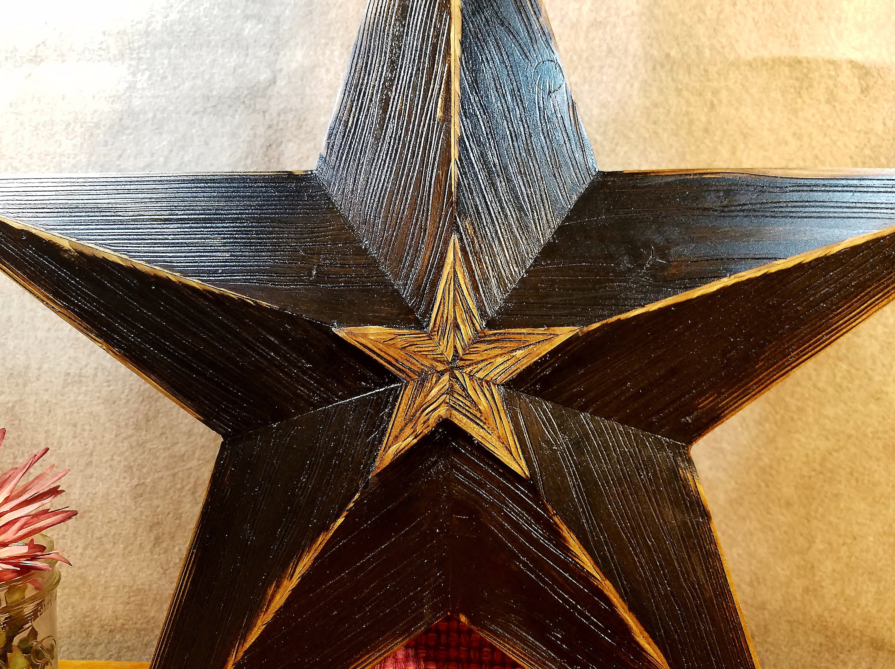 Widely Used Rustic Wood Star Barn Star Large Wooden Star Black Rustic (View 4 of 20)
