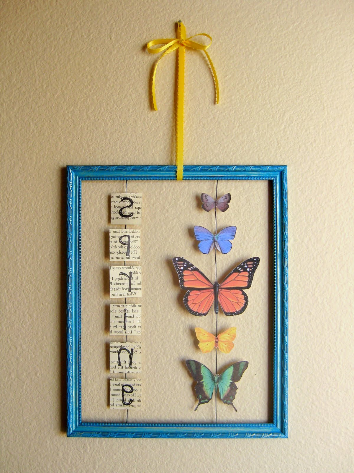 Widely Used Stayathomeartist: Butterfly Wall Hanging Tutorial Intended For Ila Metal Butterfly Wall Decor (View 19 of 20)