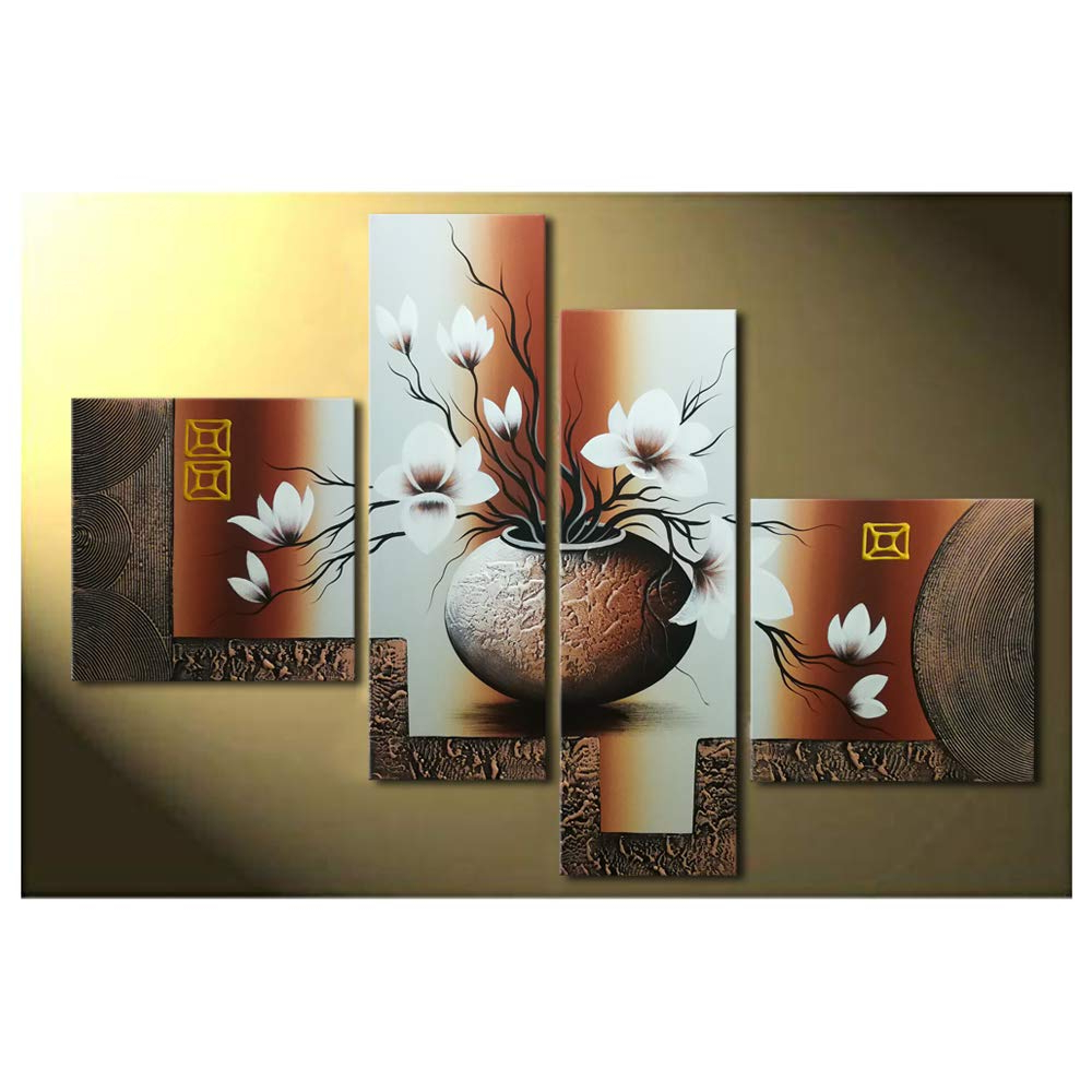 Wieco Art 4 Piece Elegant Flowers Stretched And Framed Hand Painted Modern Canvas Wall Art With Regard To Well Known Panel Wood Wall Decor Sets (Set Of 2) (Gallery 7 of 20)