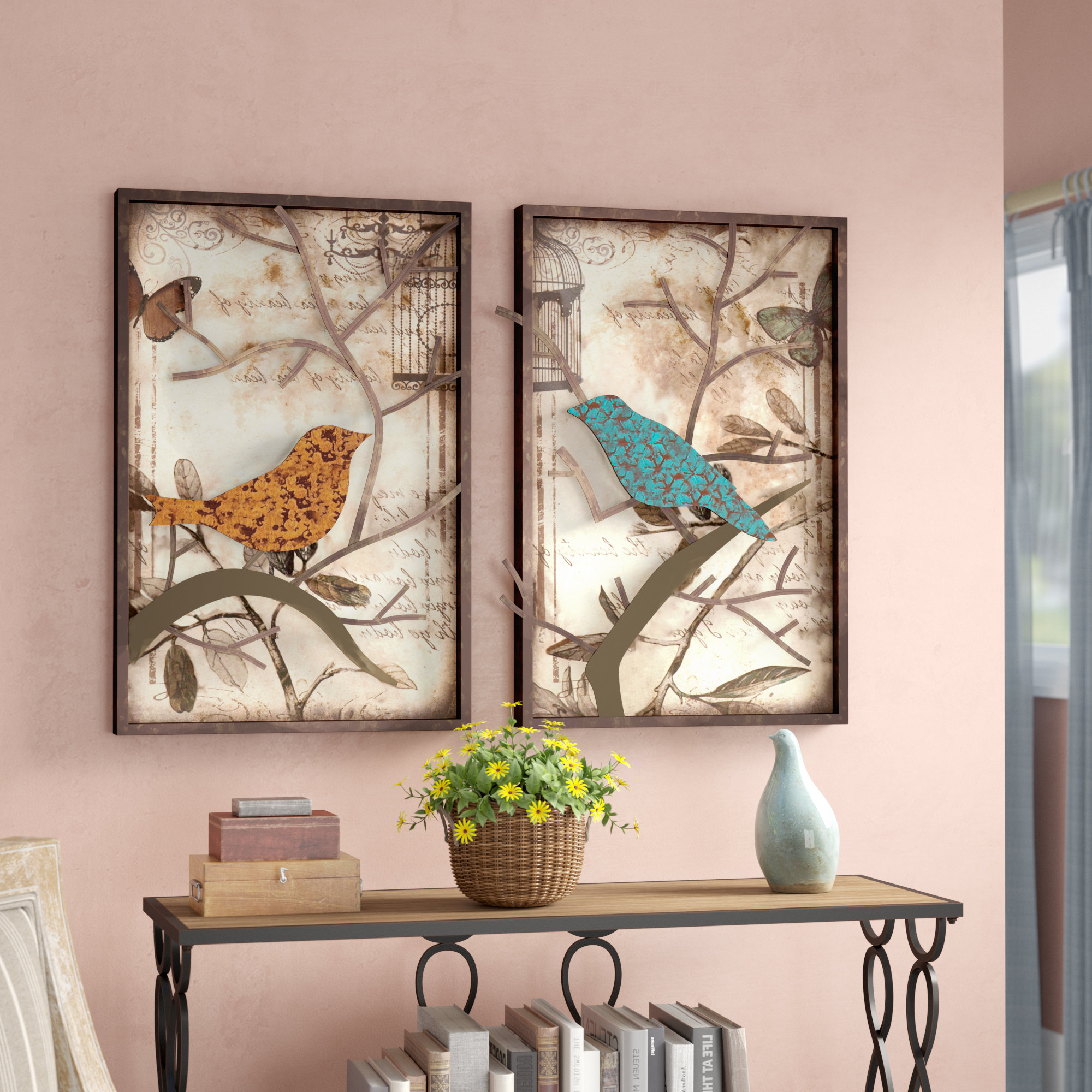 Windswept Tree Wall Decor By World Menagerie In Trendy Lark Manor 2 Piece Vintage Bird Wall Décor Set & Reviews (Gallery 8 of 20)