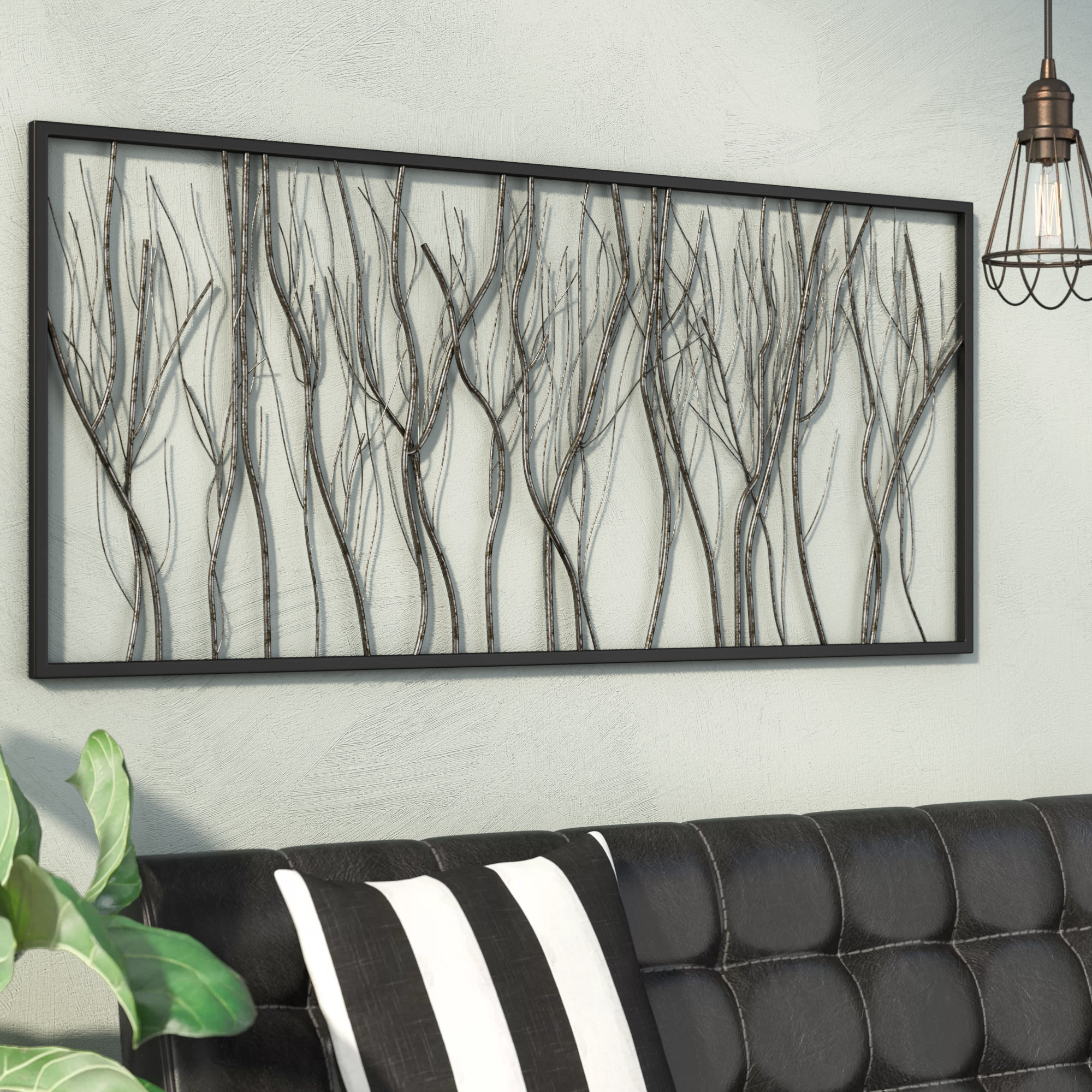 Windswept Tree Wall Decor By World Menagerie Inside 2019 17 Stories Natural Twigs And Branches Iron Wall Décor & Reviews (View 6 of 20)