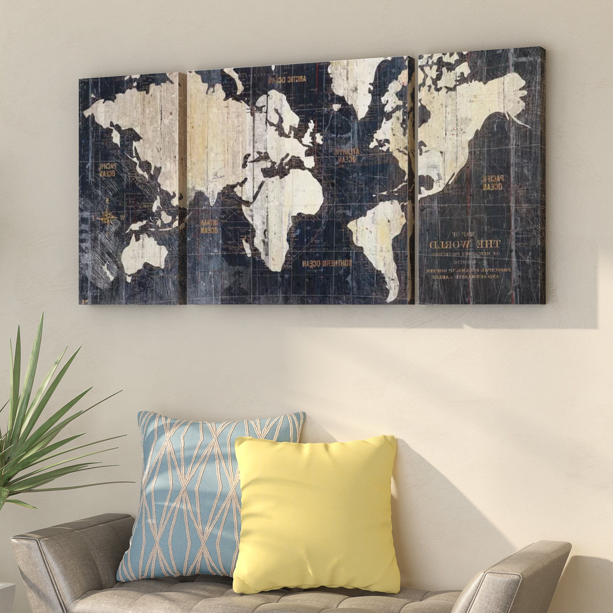 Wrought Studio 'old World Map Blue' Framed Graphic Art Print On With Preferred 3 Piece Wall Decor Sets By Wrought Studio (Gallery 6 of 20)