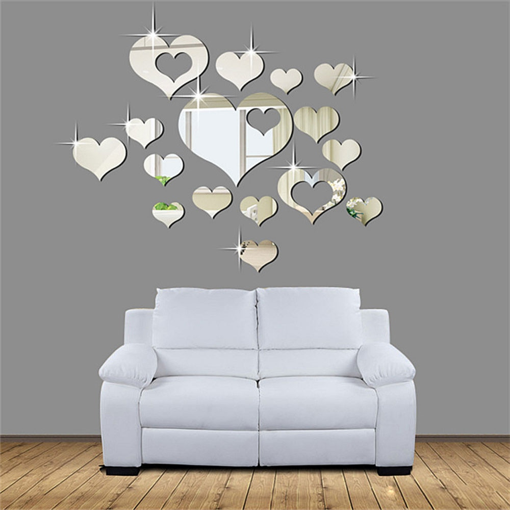 15 Pcs/set 3d Mirror Surface Wall Stickers Plastic Love Heart Shape Art Decal Multi Size Removable Home Party Room Decor F507 In Wall (View 11 of 20)