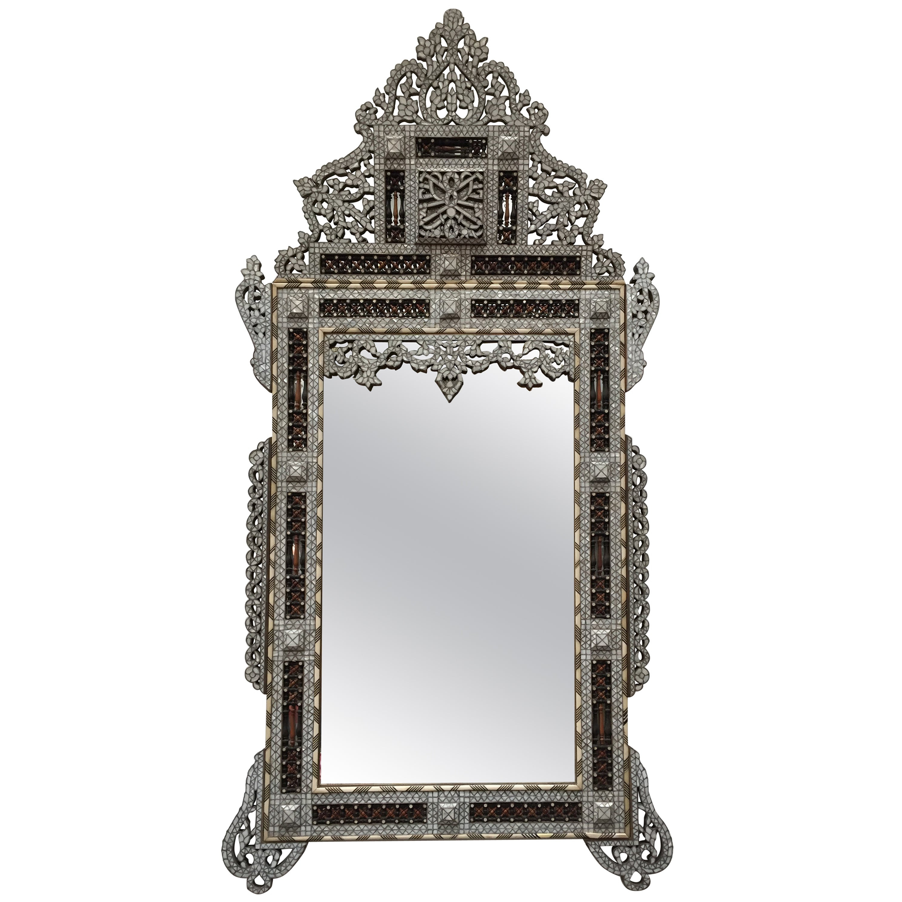 19th Century Syrian Mirror Inlay With Mother Of Pearl Within Recent Mother Of Pearl Wall Mirrors (View 14 of 20)