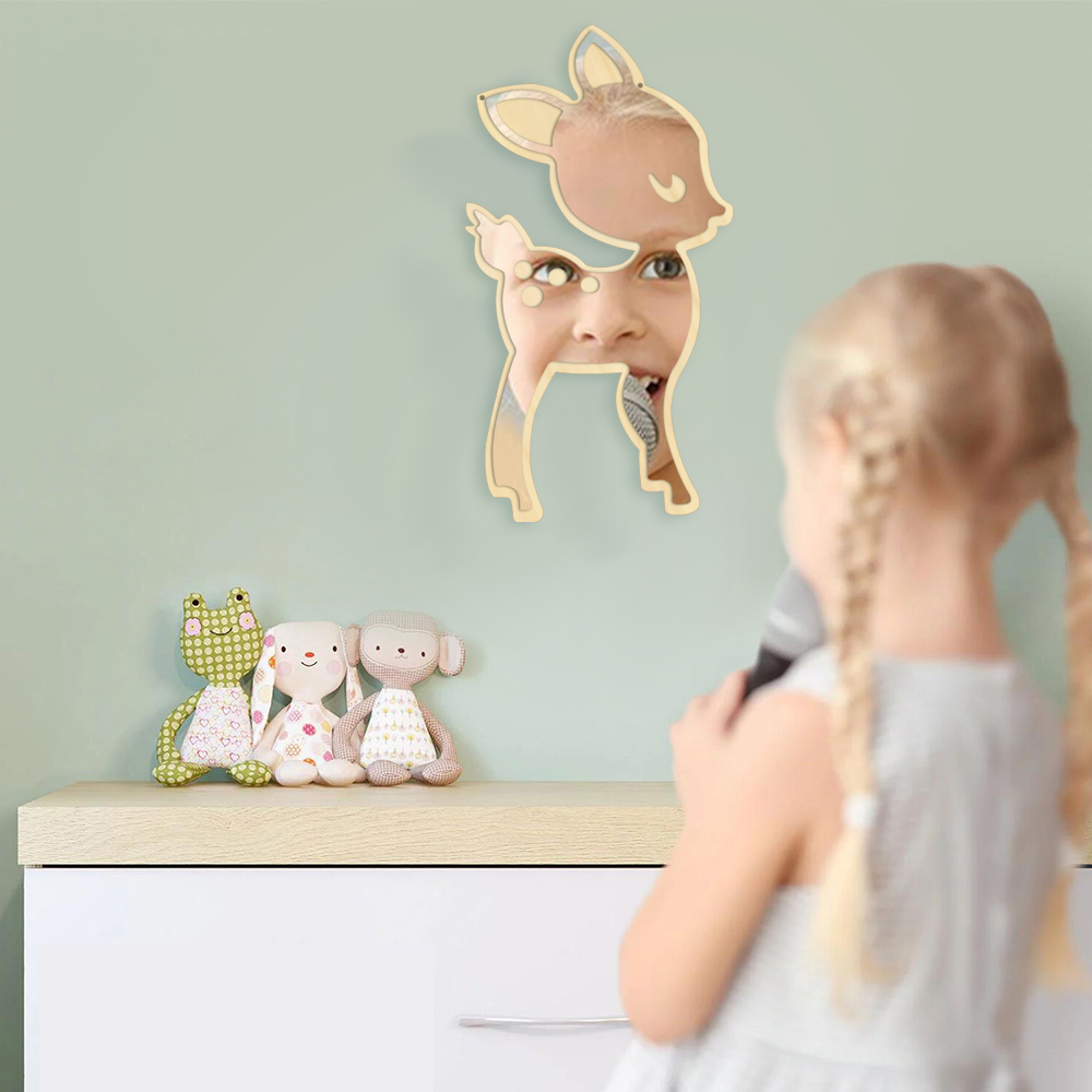 1piece Little Deer Wall Mirror Acrylic Mirror And Wooden Back Hanging Mirrors Animal Nursery Wall Art Decor For Children's Room In Inside Most Popular Nursery Wall Mirrors (View 5 of 20)