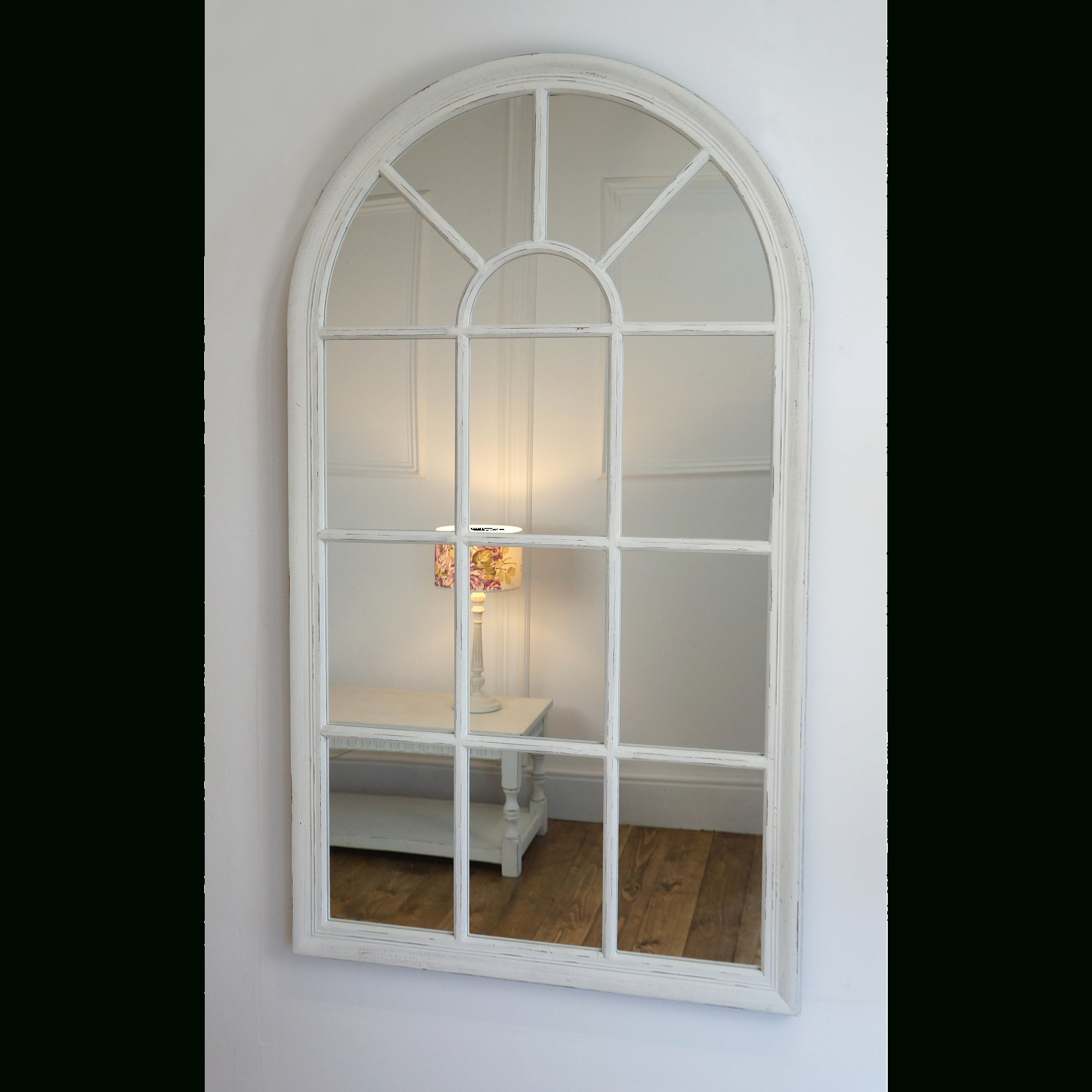 "2 Piece Kissena Window Pane Accent Mirror Sets Pertaining To Latest Arabella – White Arched Window Mirror 56"" X 32"" (139Cm X 79Cm (View 4 of 20)"