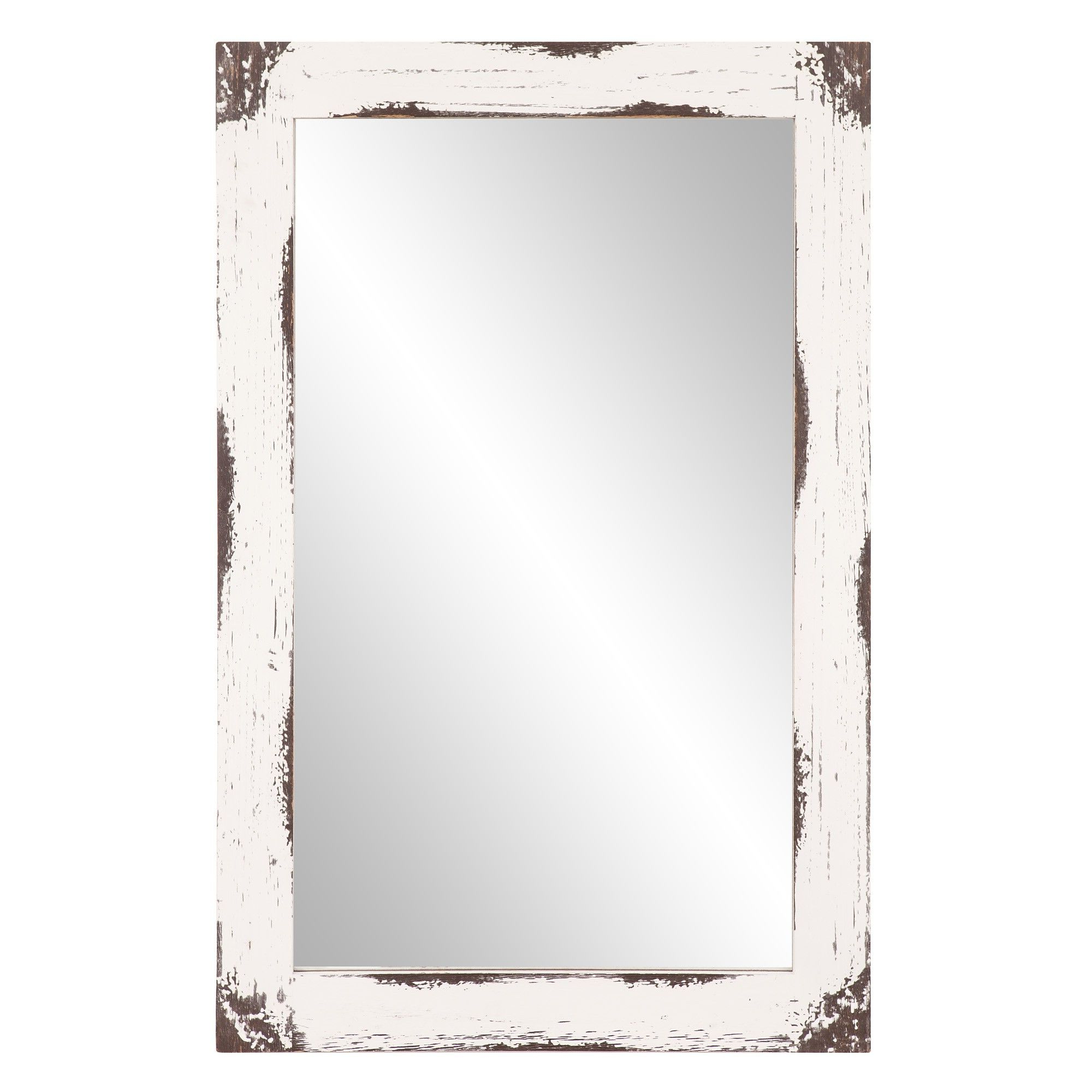 "2019 18""x31"" Distressed Reclaimed Wood Wall Mirror White – Patton Regarding Distressed Wood Wall Mirrors (View 2 of 20)"