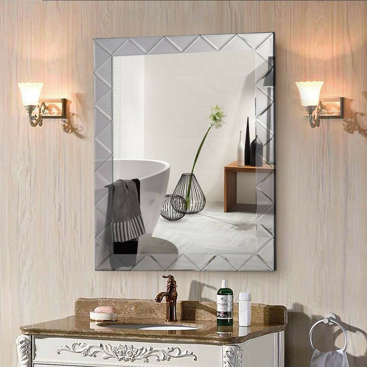 "2019 21.5"" X 30.5"" Modern Rectangle Wall Mirror Frame Angled Glass Panel Home Decor With Regard To Angled Wall Mirrors (Gallery 14 of 20)"