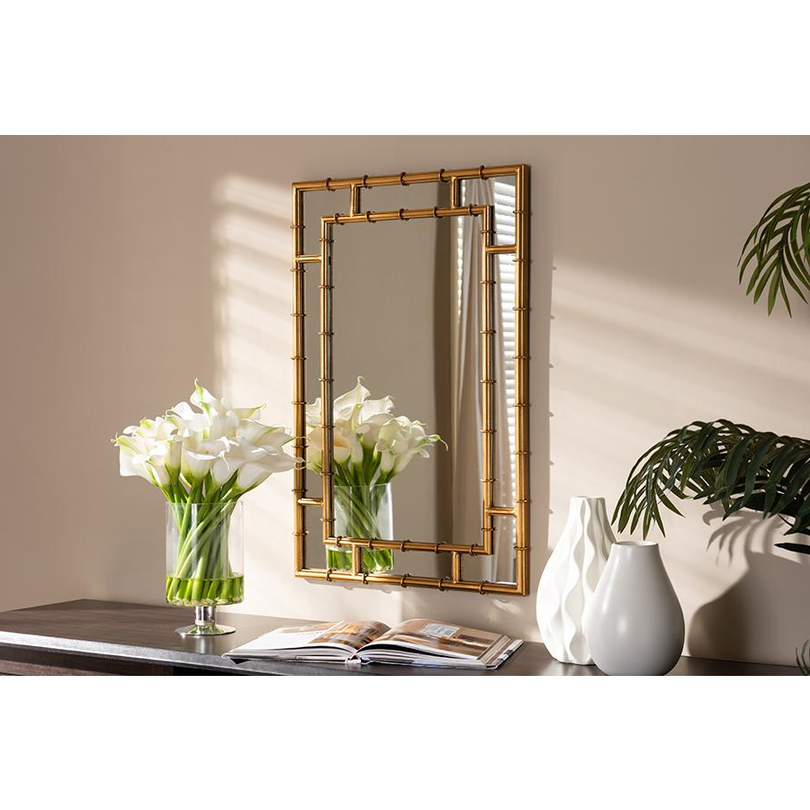 2019 Accent Wall Mirrors With Adra Modern And Contemporary Gold Finished Bamboo Accent Wall Mirror (View 1 of 20)