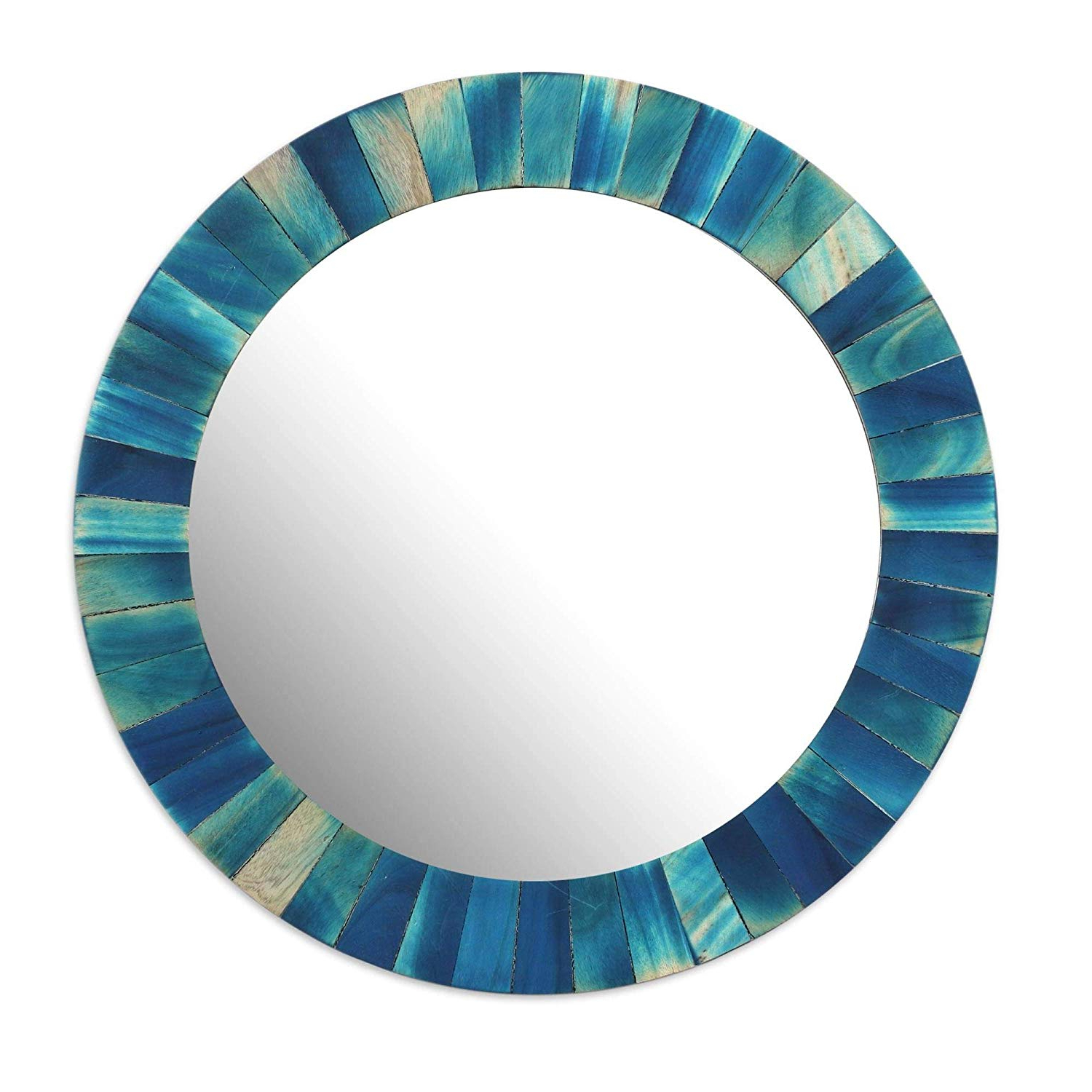 2019 Amazon: Novica 300572 Blue Radiance Wood Wall Mirror: Home & Kitchen Within Blue Wall Mirrors (View 13 of 20)