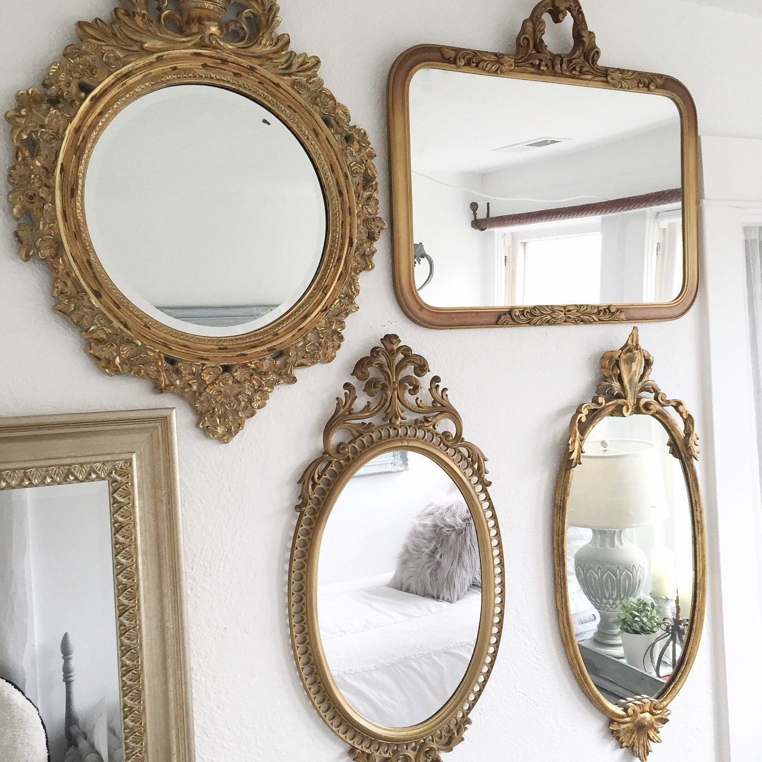 2019 Antique Gold Wall Mirrors For Agreeable Long Gold Wall Mirror Enchanting Consignment Round Vintage (Gallery 9 of 20)