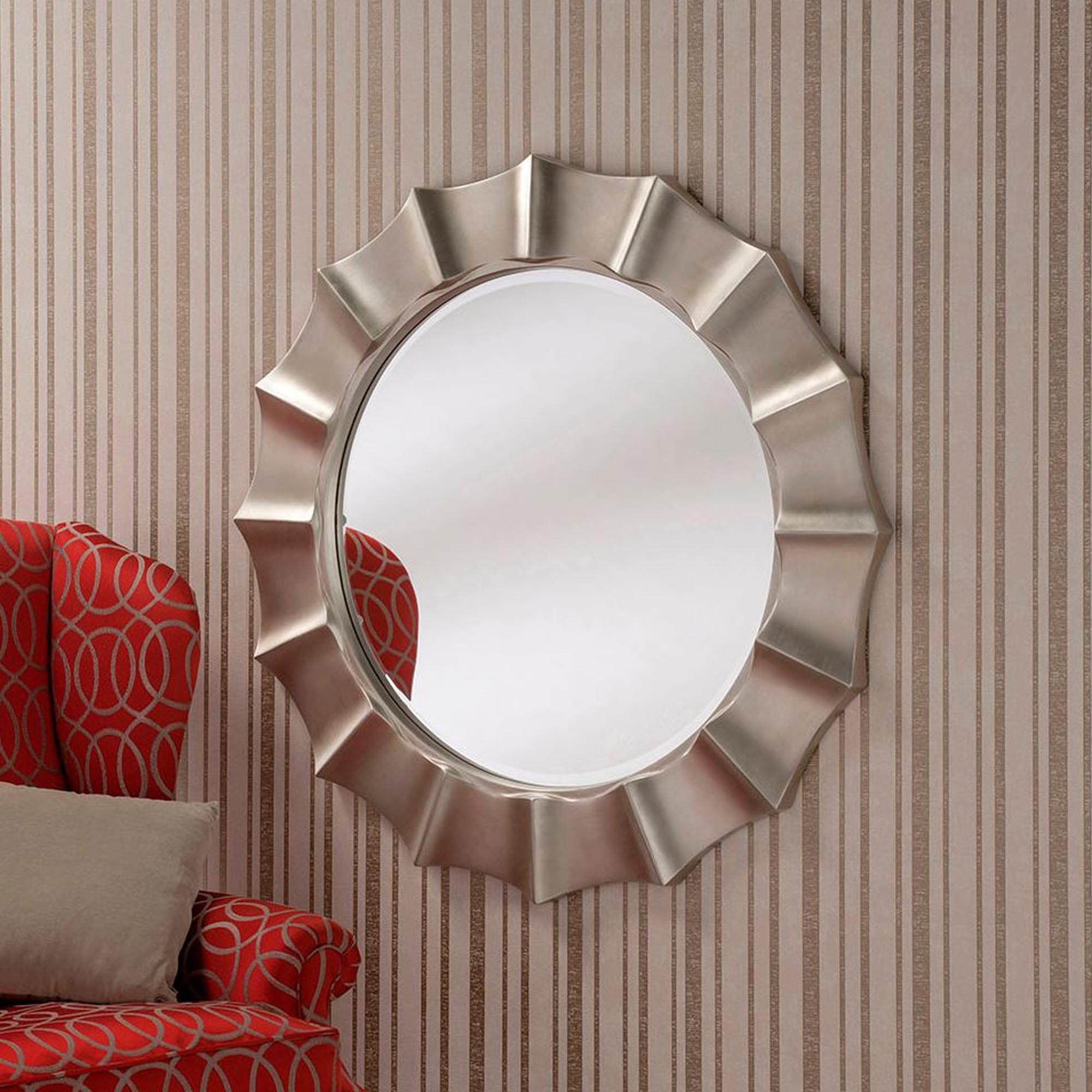 2019 Bevelled Round Silver Wall Mirror Pertaining To Round Silver Wall Mirrors (View 1 of 20)