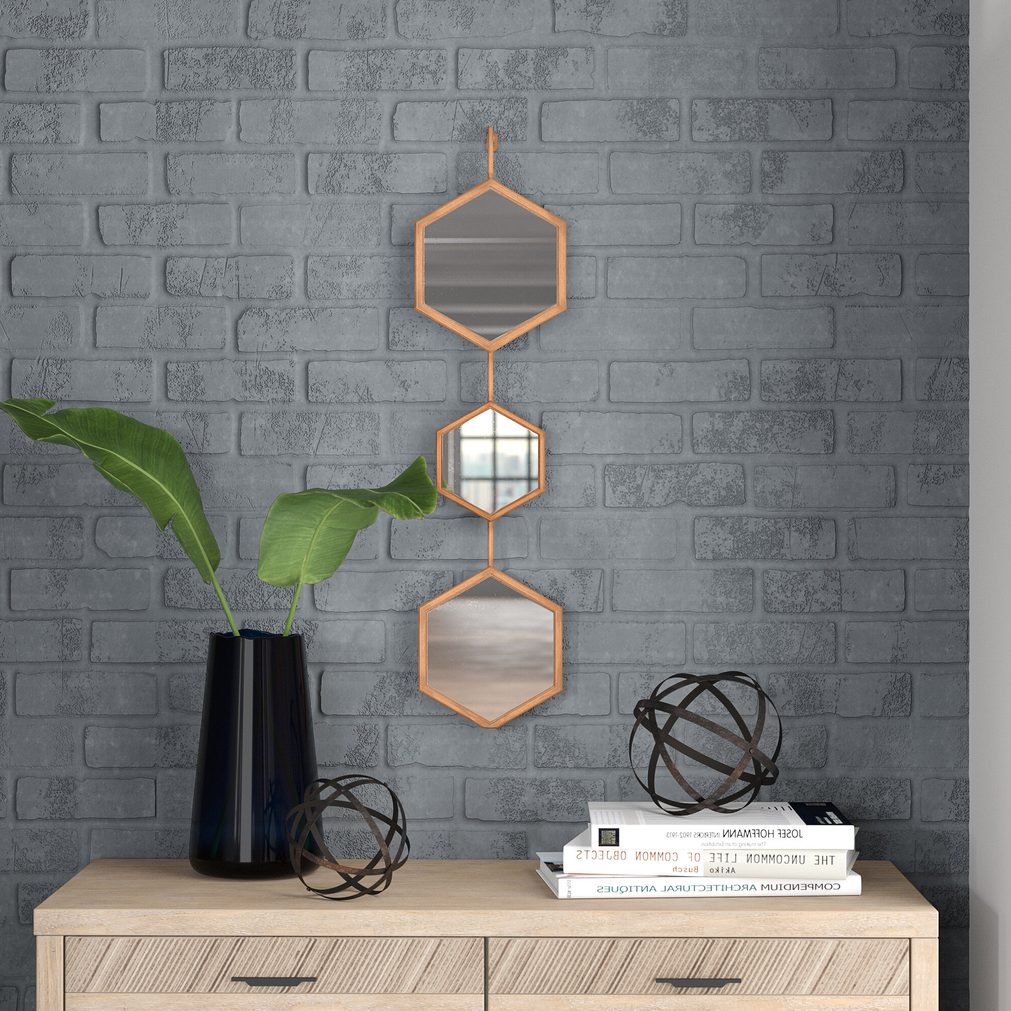 2019 Bonnett Accent Mirror Intended For 3 Piece Dima Hanging Modern & Contemporary Mirror Sets (Gallery 14 of 20)