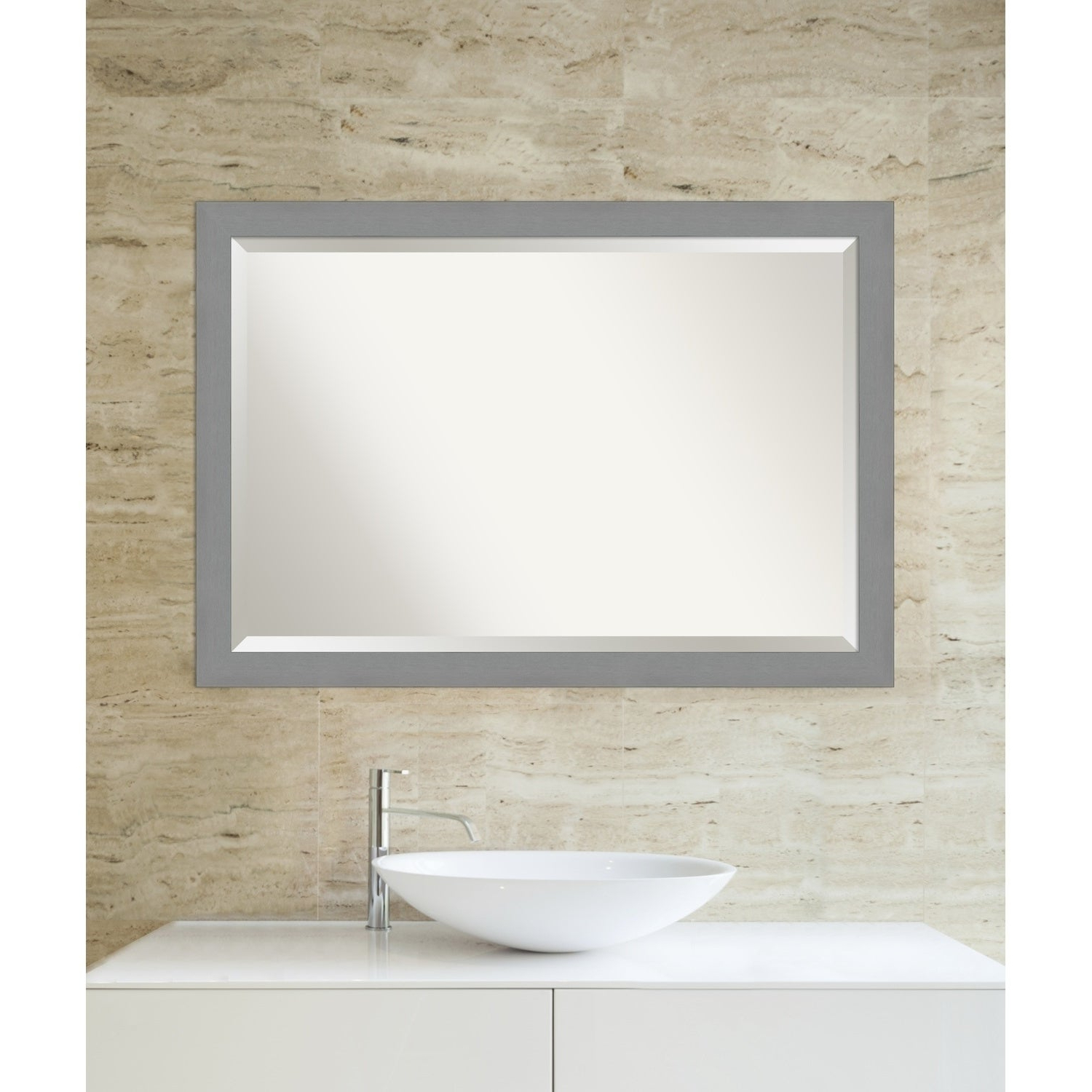2019 Brushed Nickel Wall Mirrors For Bathroom Pertaining To Porch & Den Yoncalla Brushed Nickel Finish Bathroom Vanity Wall Mirror (View 12 of 20)