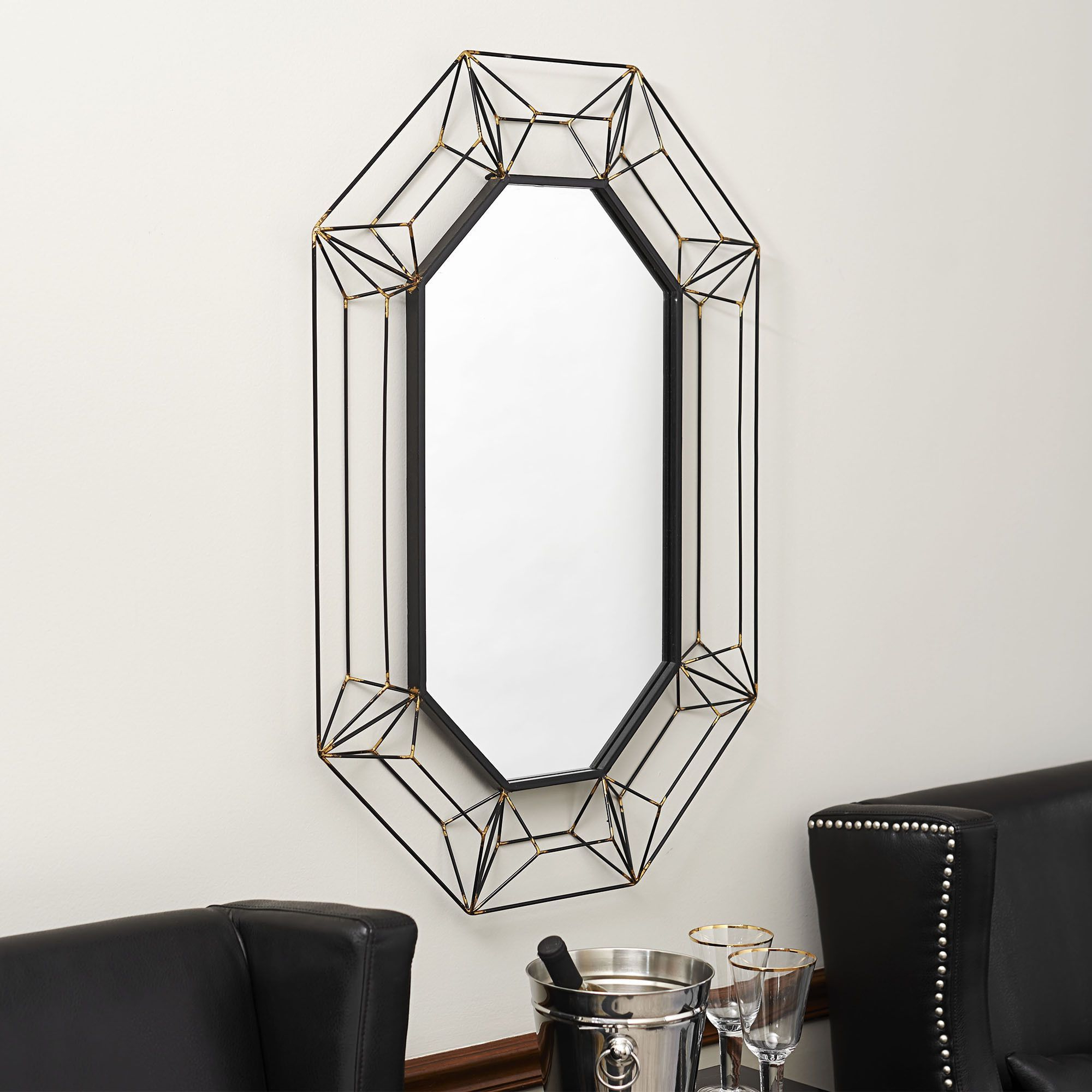 2019 Cheap Black Wall Mirrors Regarding Household Essentials Large Wire Frame Wall Mirror – Black/gold (View 3 of 20)