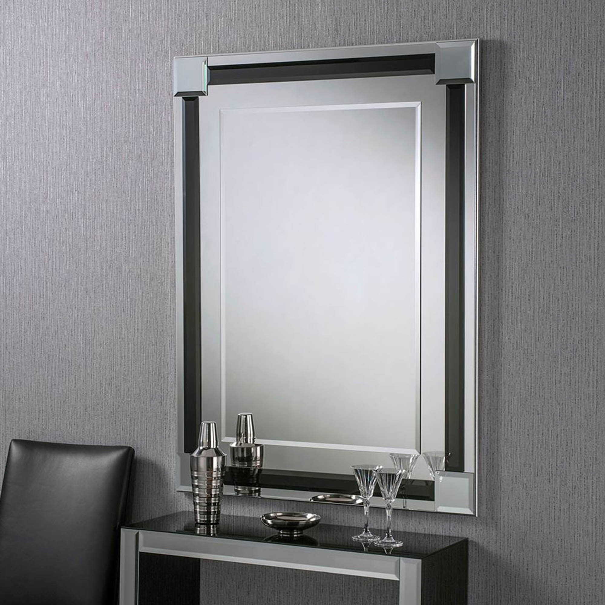 2019 Contemporary Black Wall Mirrors Within Bevelled Contemporary Rectangular Black Wall Mirror (View 15 of 20)