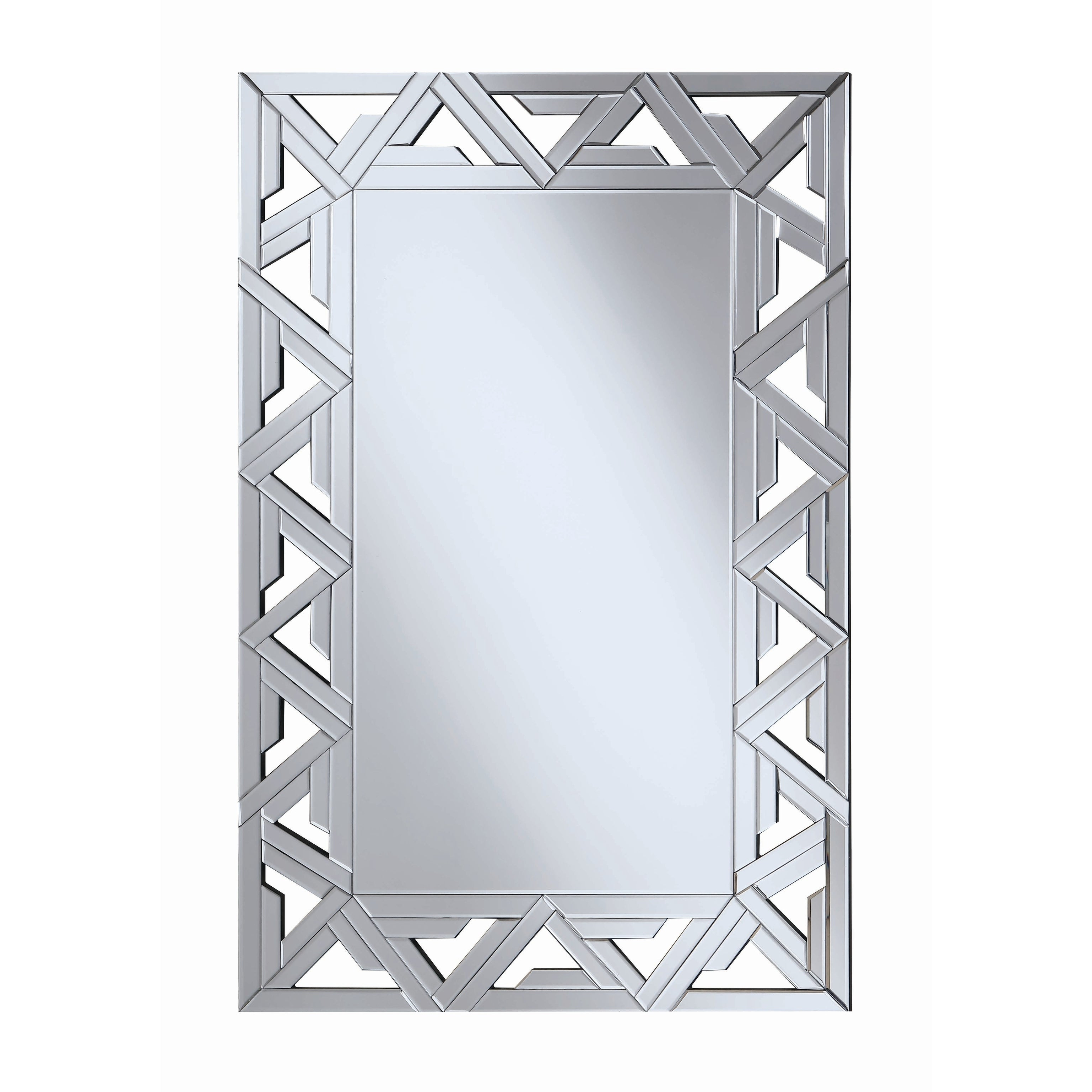2019 Contemporary Silver Geometric Wall Mirror Throughout Silver Wall Mirrors (View 14 of 20)