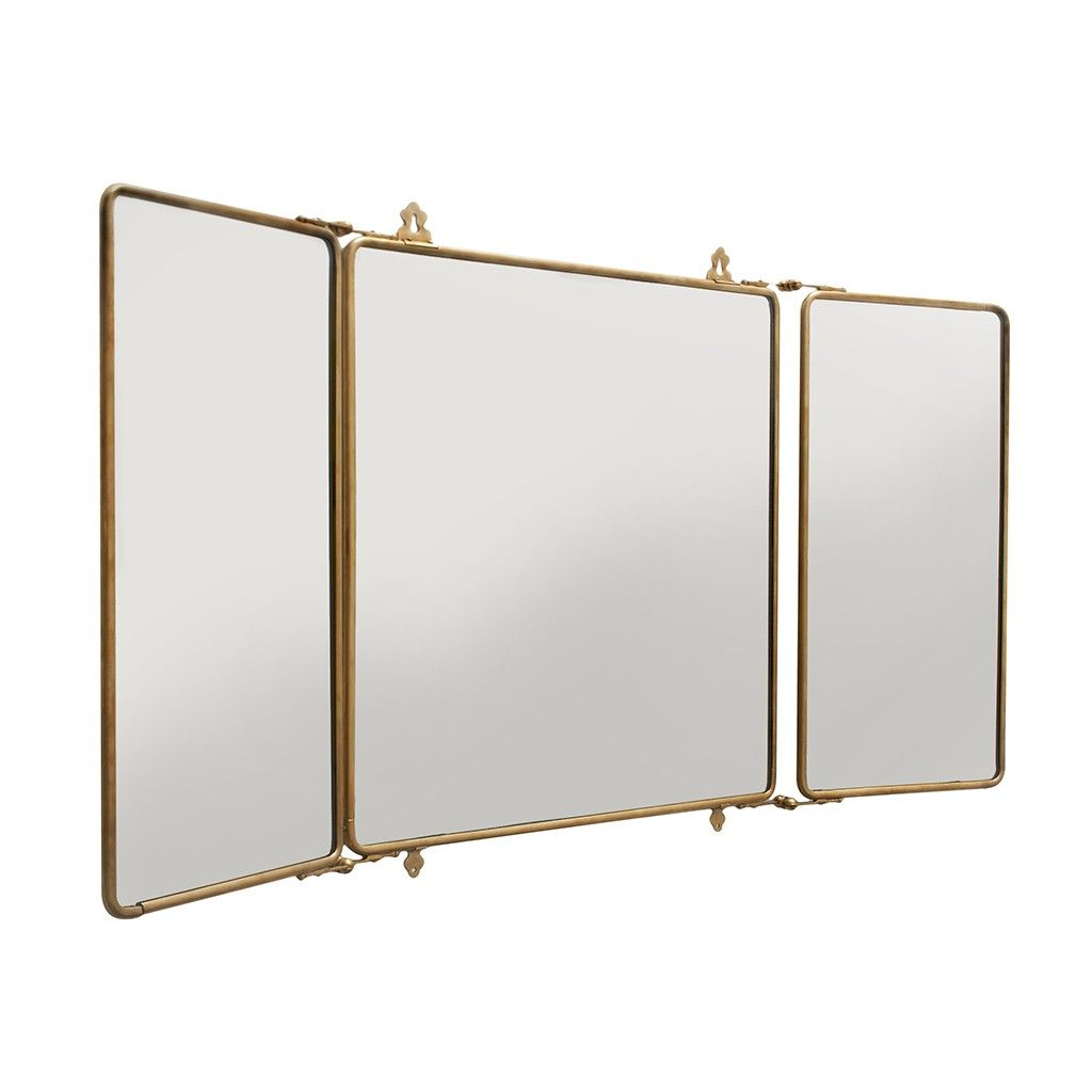 2019 Daphne Metal Rectangular Wall Mounted Trifold Mirror 42 3/8 With Regard To Tri Fold Wall Mirrors (View 2 of 20)