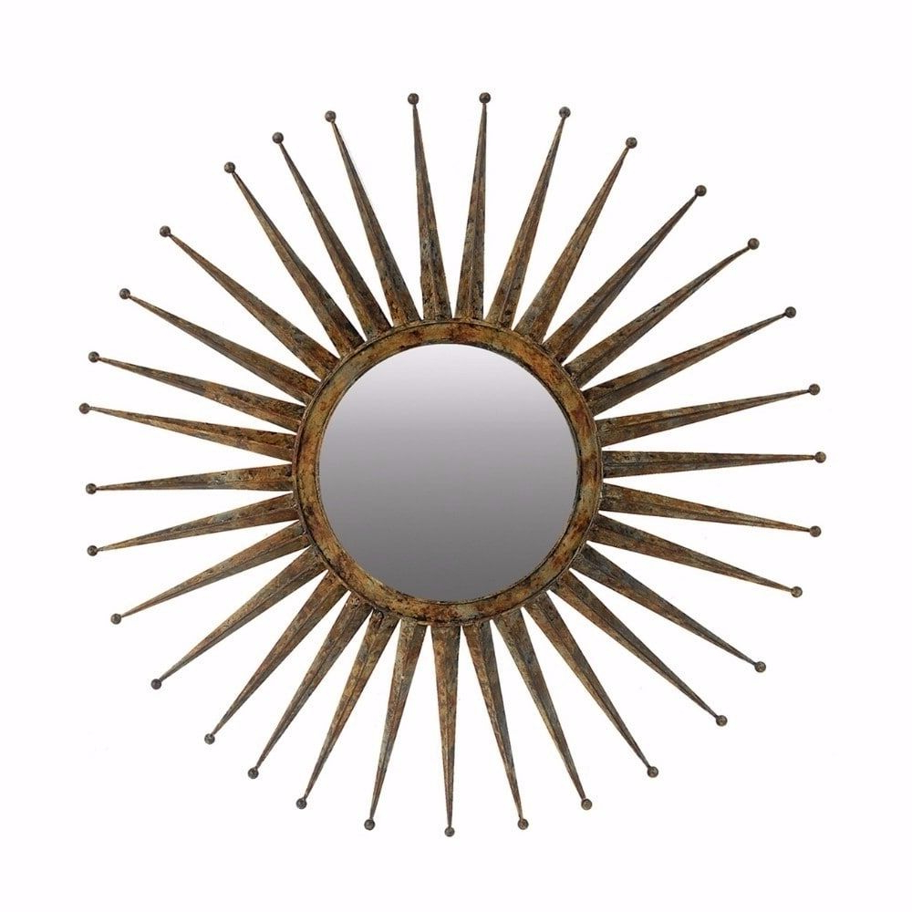 2019 Estrela Modern Sunburst Metal Wall Mirrors Intended For Benzara Antiquely Styled Golden Flare Starburst Distressed Gold (View 1 of 20)