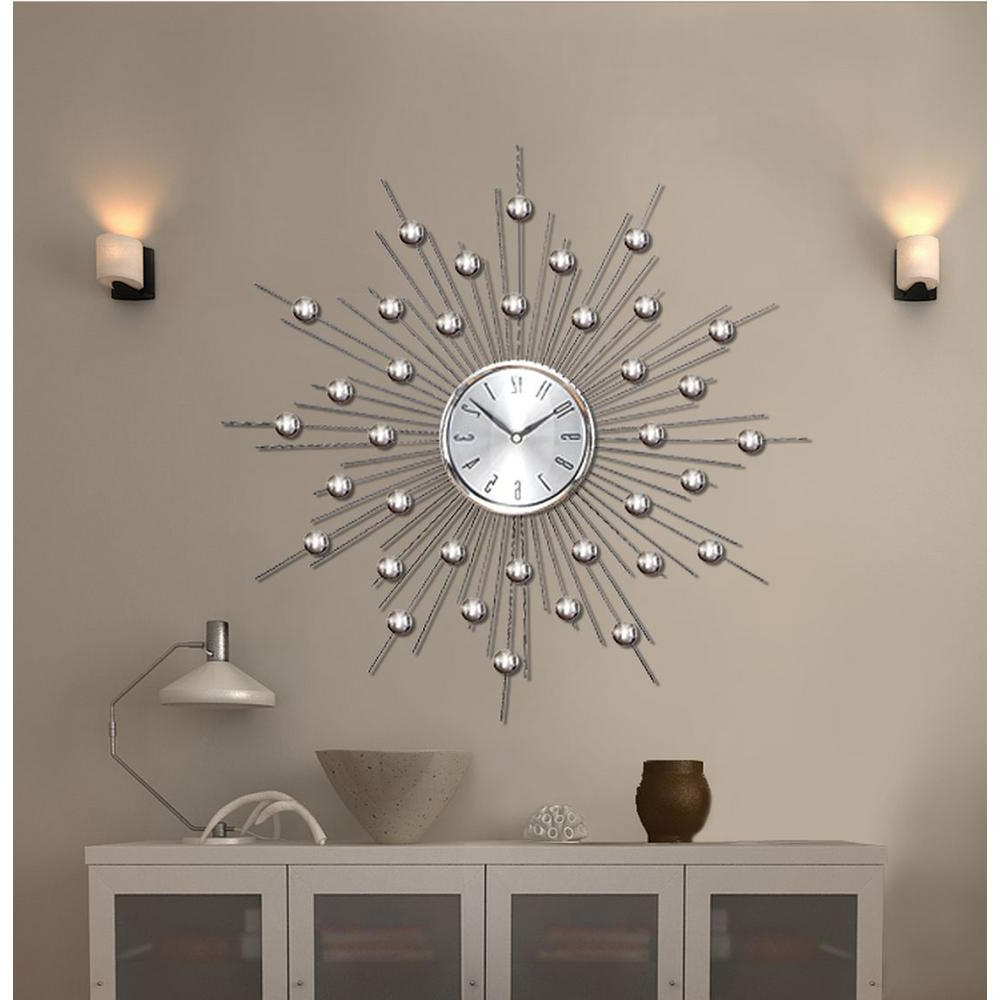 2019 Estrela Modern Sunburst Metal Wall Mirrors Regarding 20 In. Sunburst Mirrored Wall Clock In 2019 (Gallery 15 of 20)