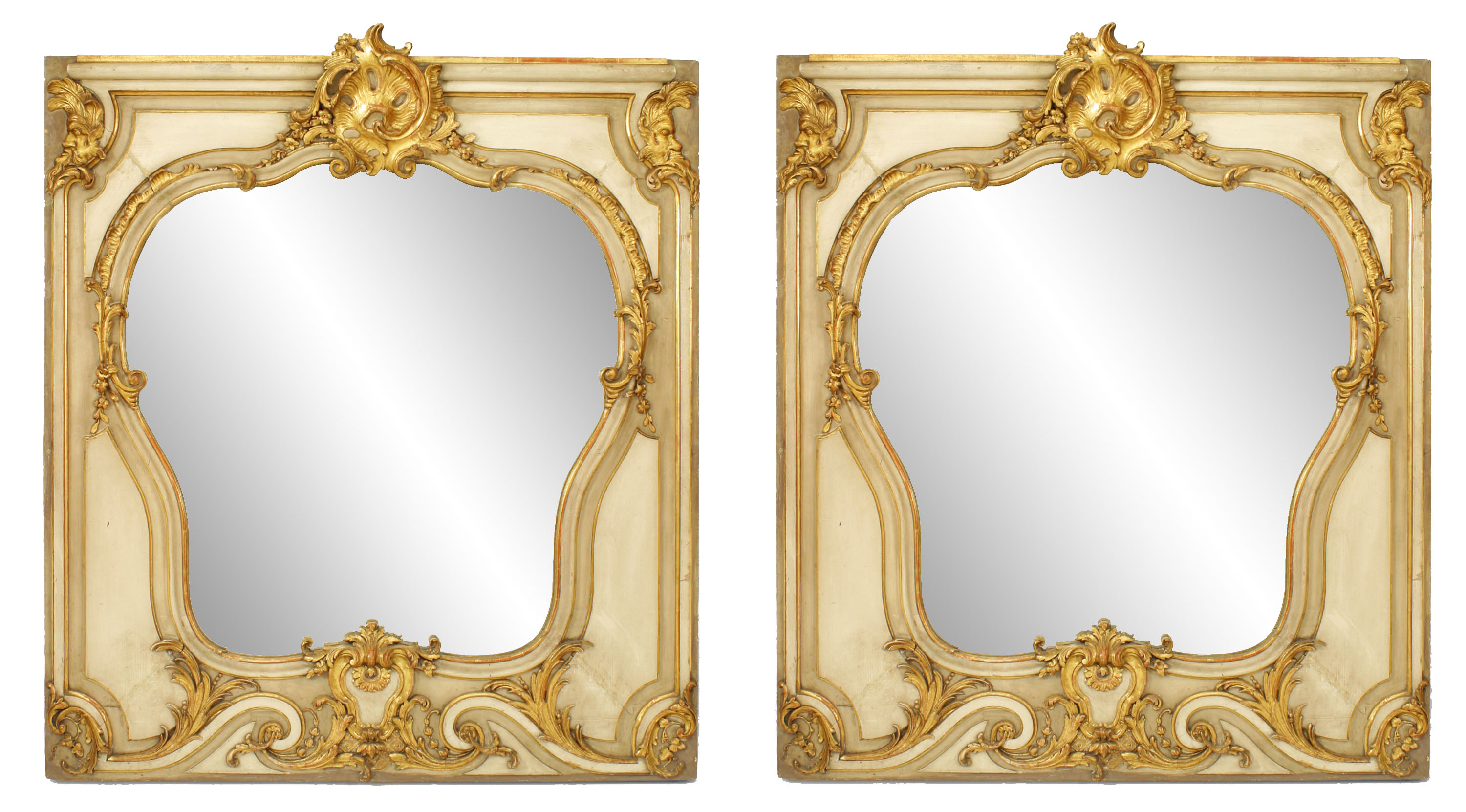2019 French Louis Xv Style Gilt And Beige Painted Wall Mirrors Within Painted Wall Mirrors (View 2 of 20)
