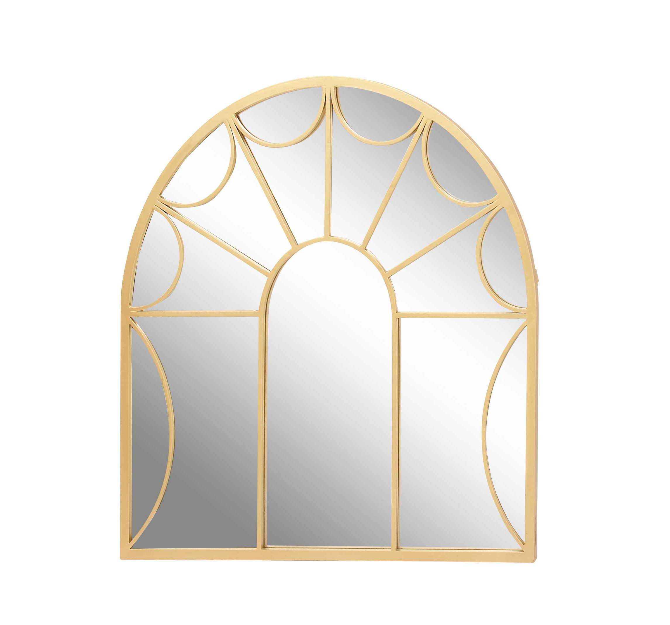 2019 Gold Arch Wall Mirrors With Decmode Modern 35 Inch Gold Metal Arched Window Pane Wall Mirror, Gold (View 20 of 20)