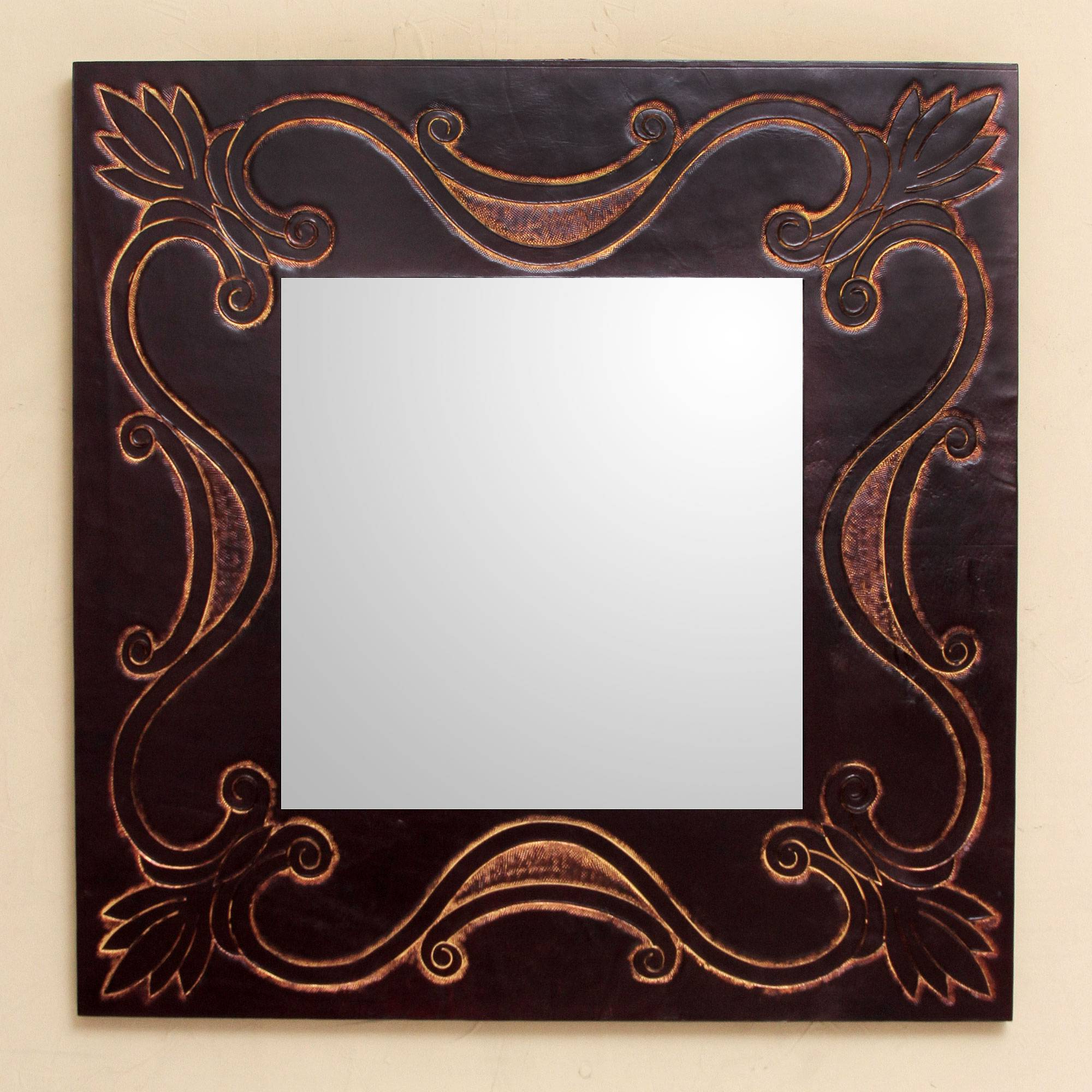 2019 Handcrafted Contemporary Wall Mirror With Tooled Leather, 'lotus Tendrils' Regarding Leather Wall Mirrors (View 6 of 20)
