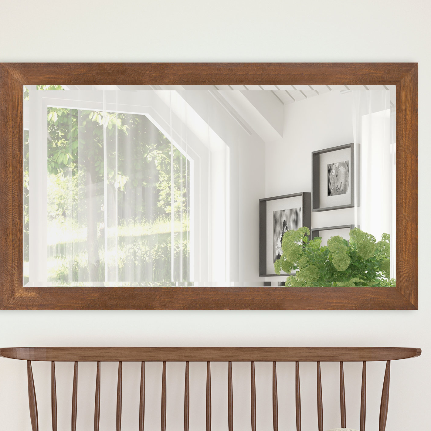 2019 Hilde Traditional Beveled Bathroom Mirrors Pertaining To Horacia Woodgrain Framed Beveled Full Length Mirror (View 20 of 20)