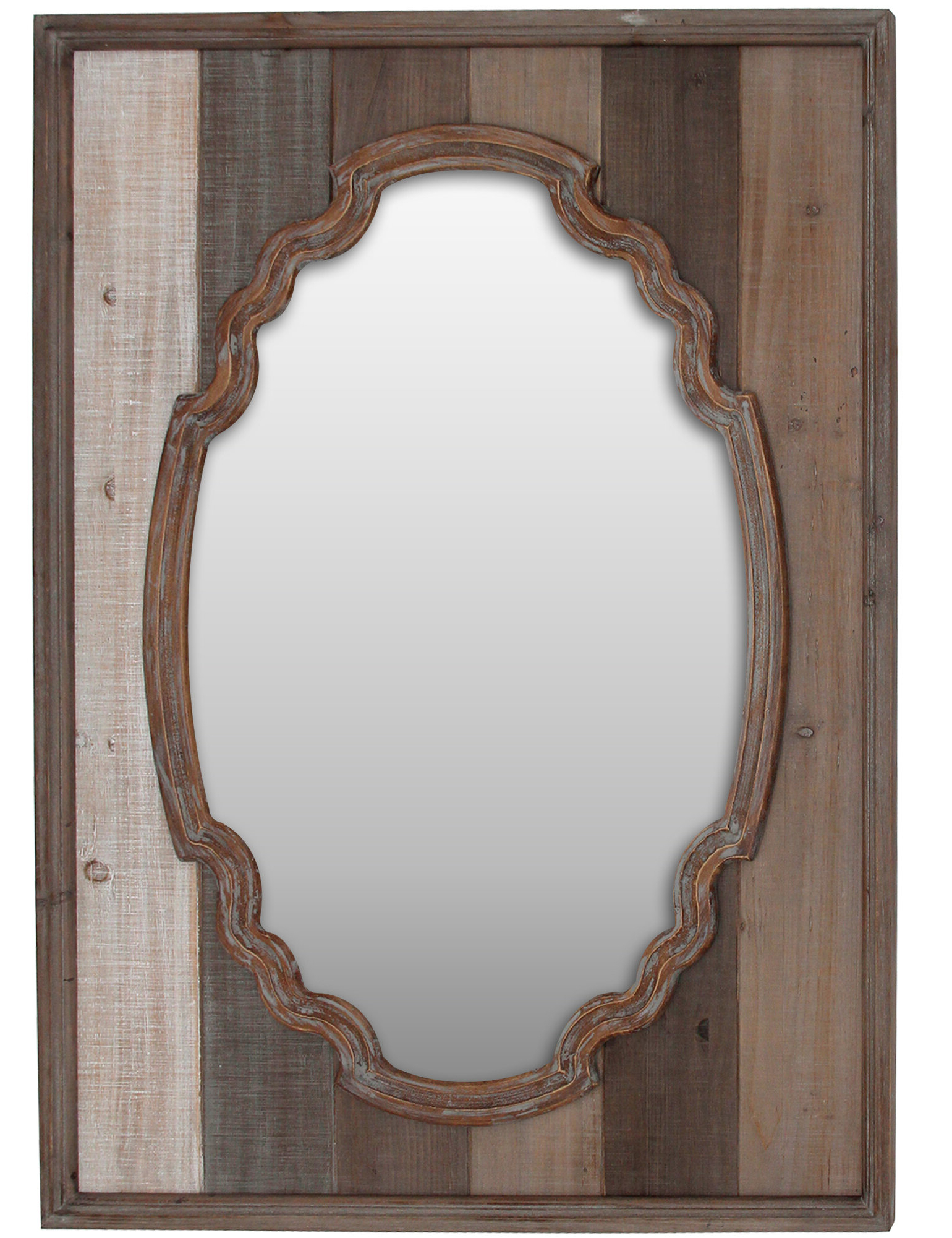 2019 Jaylyn Elegant Farmstead Rustic Accent Mirror For Padang Irregular Wood Framed Wall Mirrors (View 2 of 20)