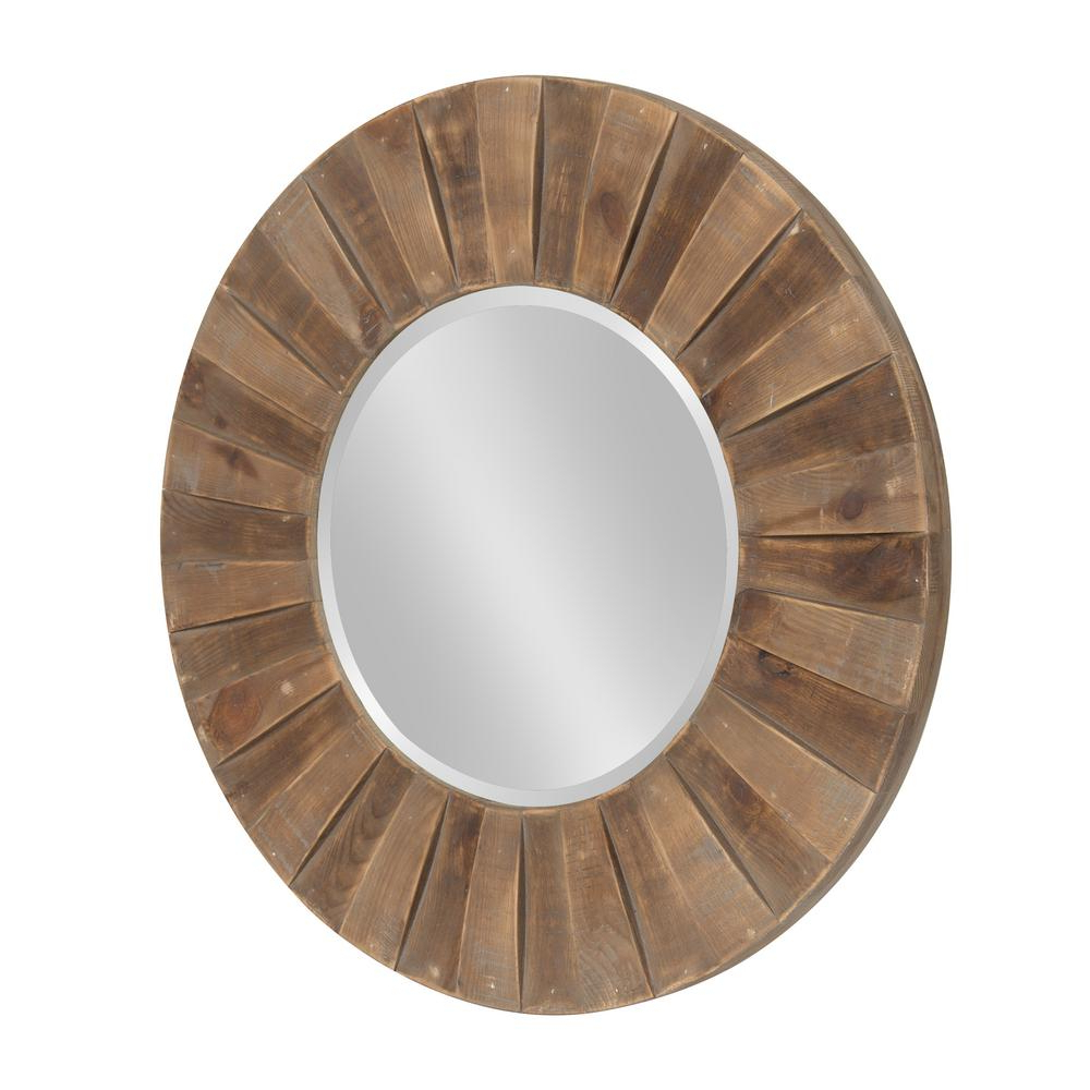 "2019 Kate And Laurel Monteiro Large Round Wall Mirror 30"" Diameter Rustic With Big Round Wall Mirrors (View 20 of 20)"