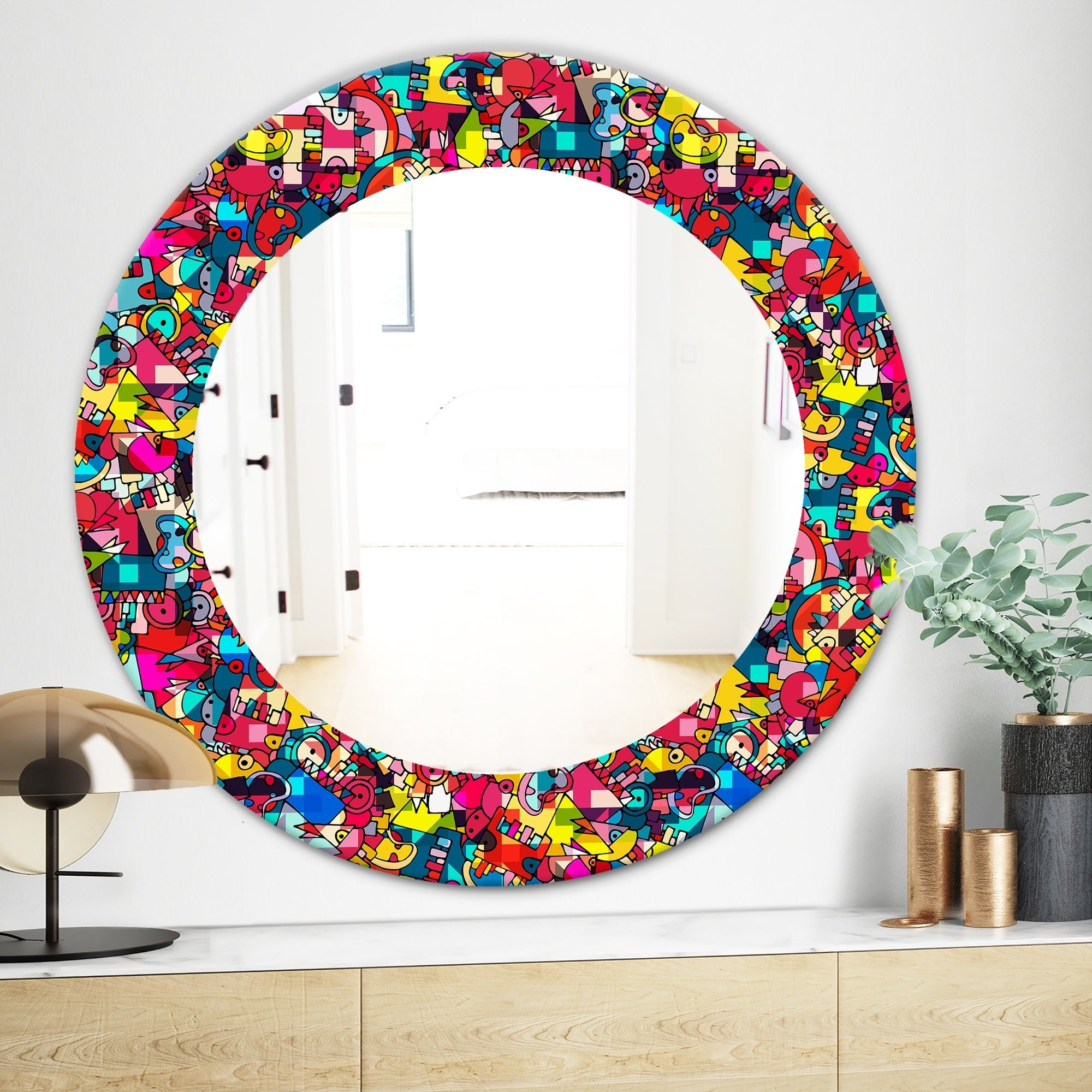2019 Kids Wall Mirrors With Regard To Designart 'kids Geometric' Modern Mirror – Oval Or Round Wall Mirror – Red (Gallery 11 of 20)