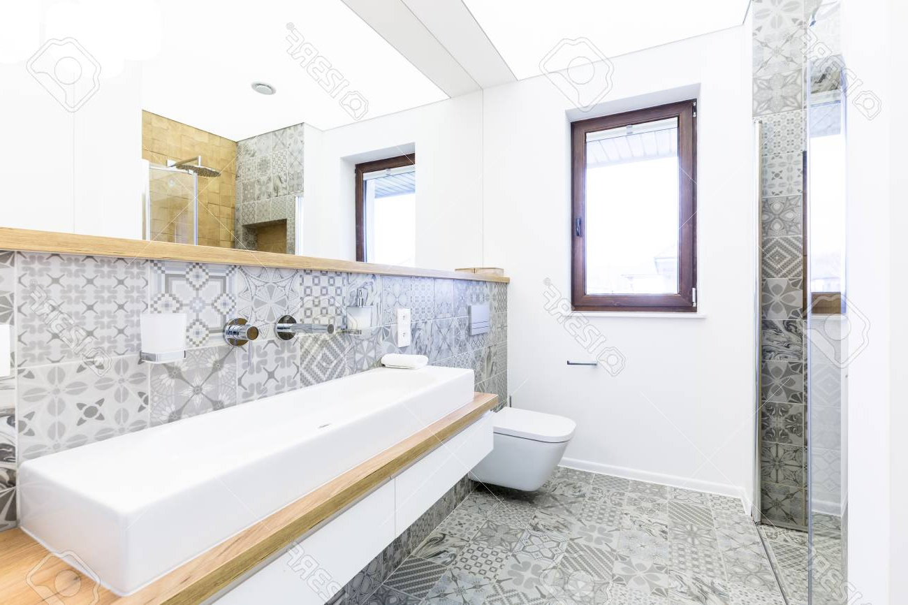 2019 Large Bathroom Wall Mirrors Within Long, Narrow Washbasin In A Gray, Modern Bathroom Interior With. (View 14 of 20)