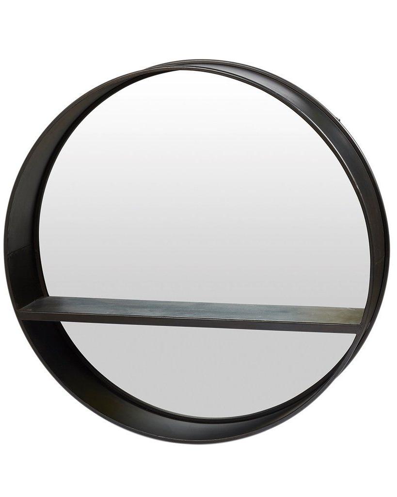 2019 Mirrordeco — Loft – Round Mirror With Shelf Dia:80cm Pertaining To Round Black Wall Mirrors (Gallery 15 of 20)