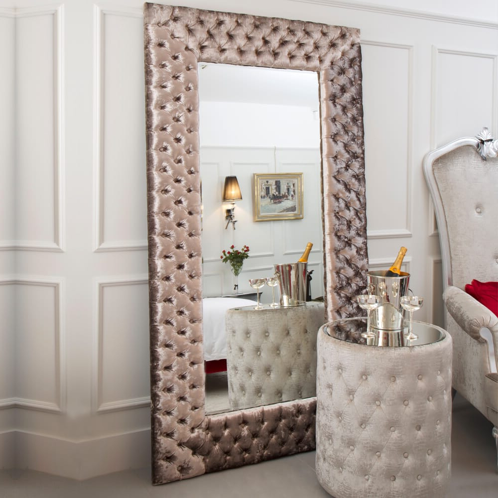 2019 Modern Large Wall Mirrors In Large Modern Button Upholstered Velvet Wall Mirror (View 1 of 20)