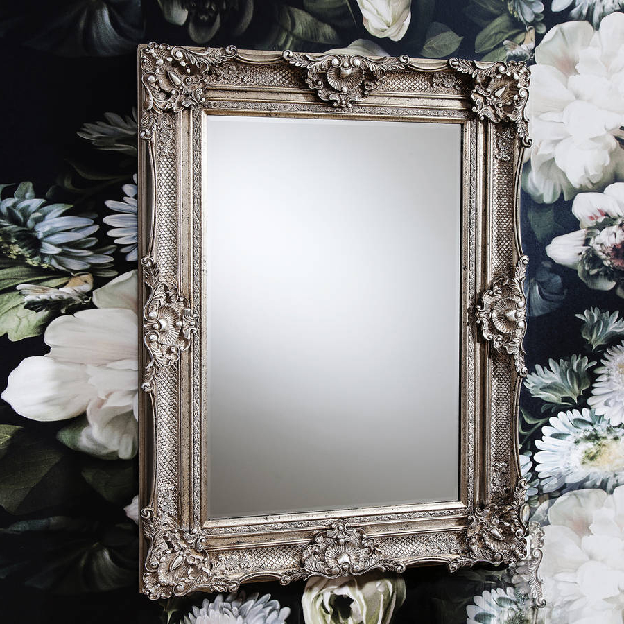 2019 Ornate Antique Silver Wall Mirror Intended For Silver Wall Mirrors (View 19 of 20)