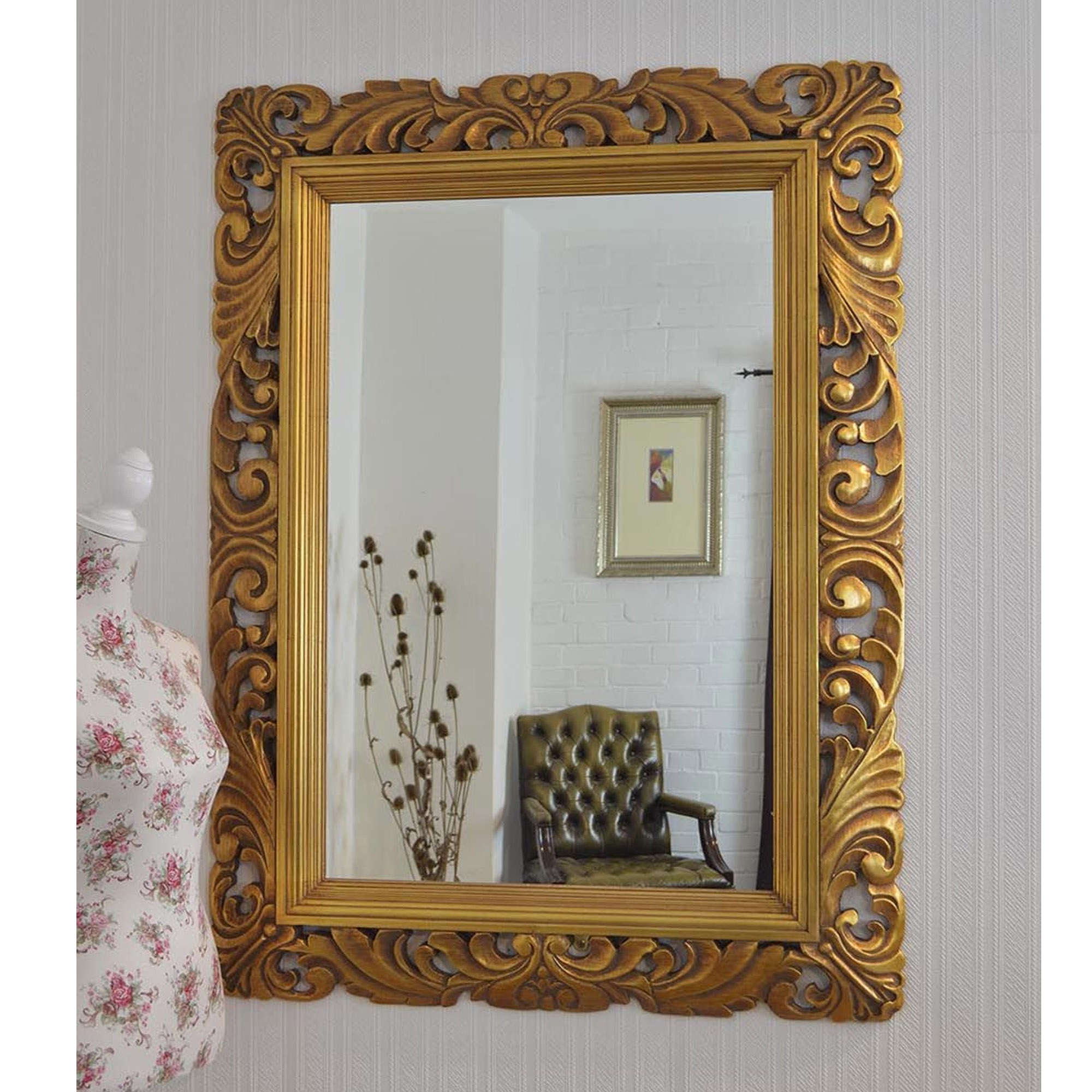 2019 Ornate Framed Gold Antique French Style Wall Mirror Regarding Gold Framed Wall Mirrors (View 4 of 20)