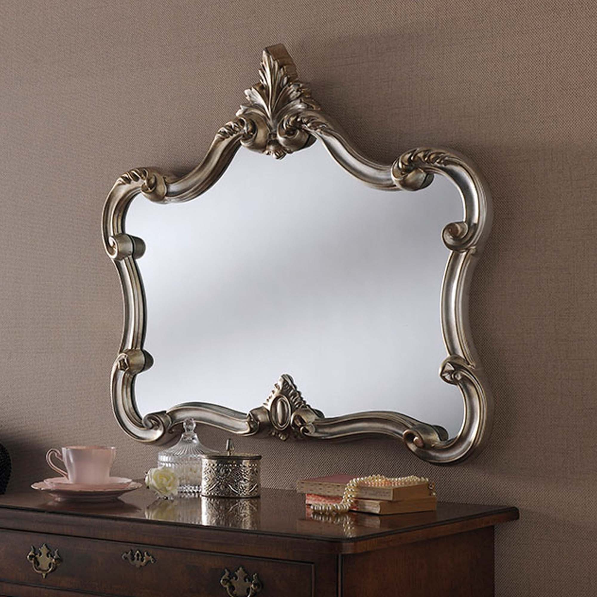 2019 Ornate Wall Mirrors With Regard To Antique French Style Silver Ornate Wall Mirror (View 11 of 20)