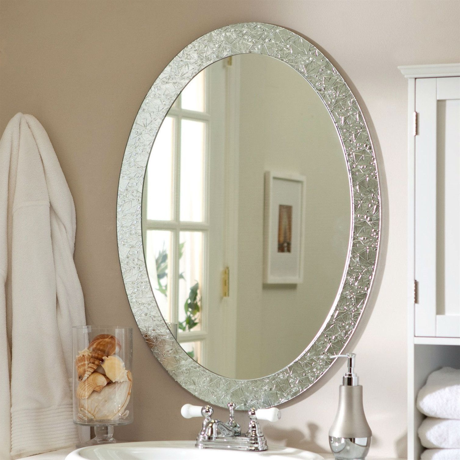 2019 Oval Frame Less Bathroom Vanity Wall Mirror With Elegant Crystal Inside Small Oval Wall Mirrors (View 2 of 20)