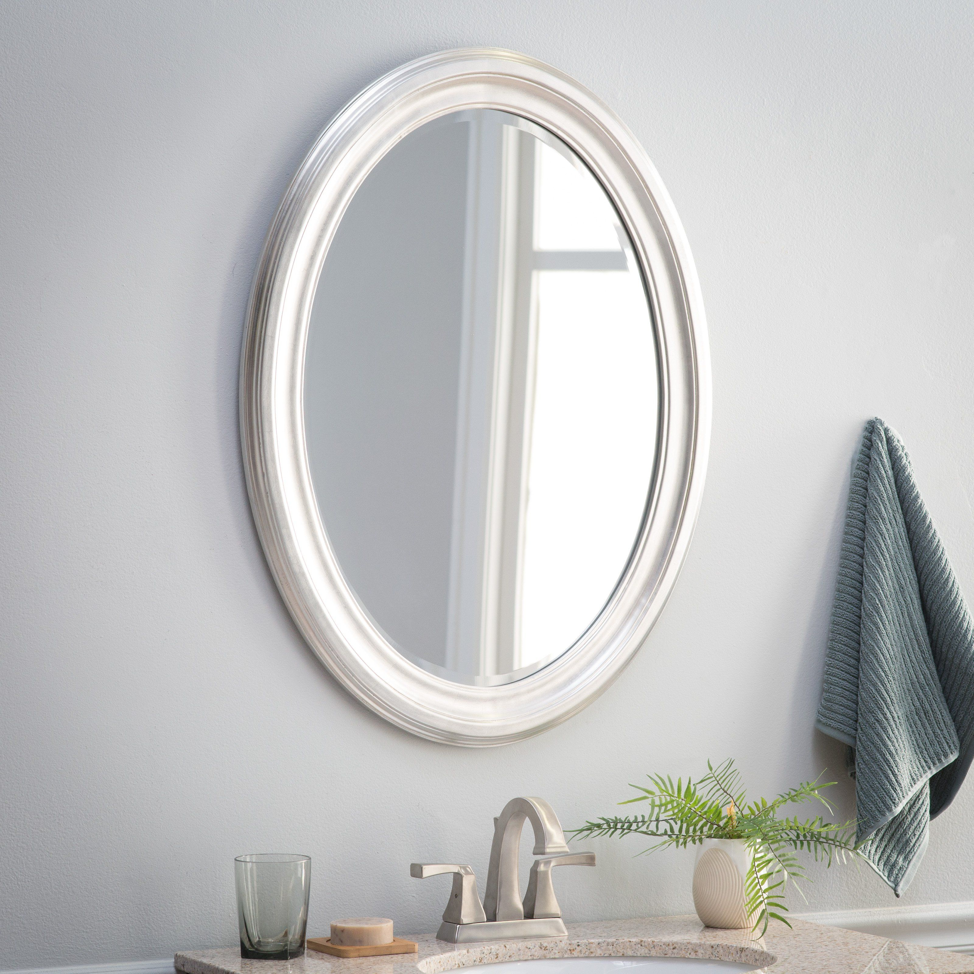 2019 Point Reyes Molten Round Wall Mirrors In Belham Living Oval Wall Mirror – Brushed Nickel – 25w X 33h In (View 12 of 20)