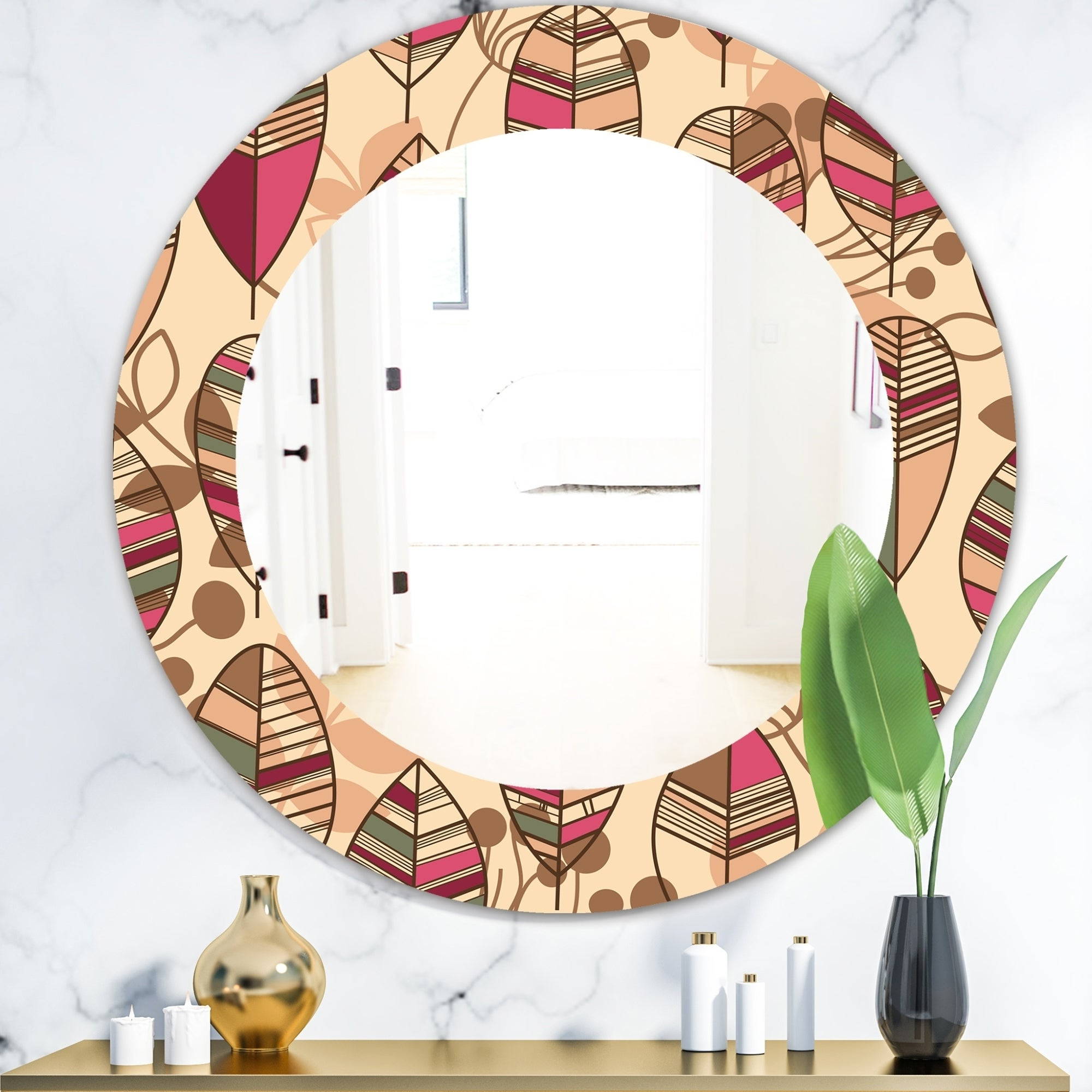 2019 Round Eclectic Accent Mirrors In Designart 'retro Autum Flowers' Bohemian And Eclectic Mirror – Frameless Oval Or Round Wall Mirror – Brown (View 16 of 20)
