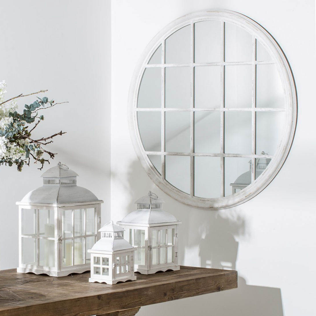 2019 Round White Wall Mirrors In Large Round White Window Mirror (View 20 of 20)